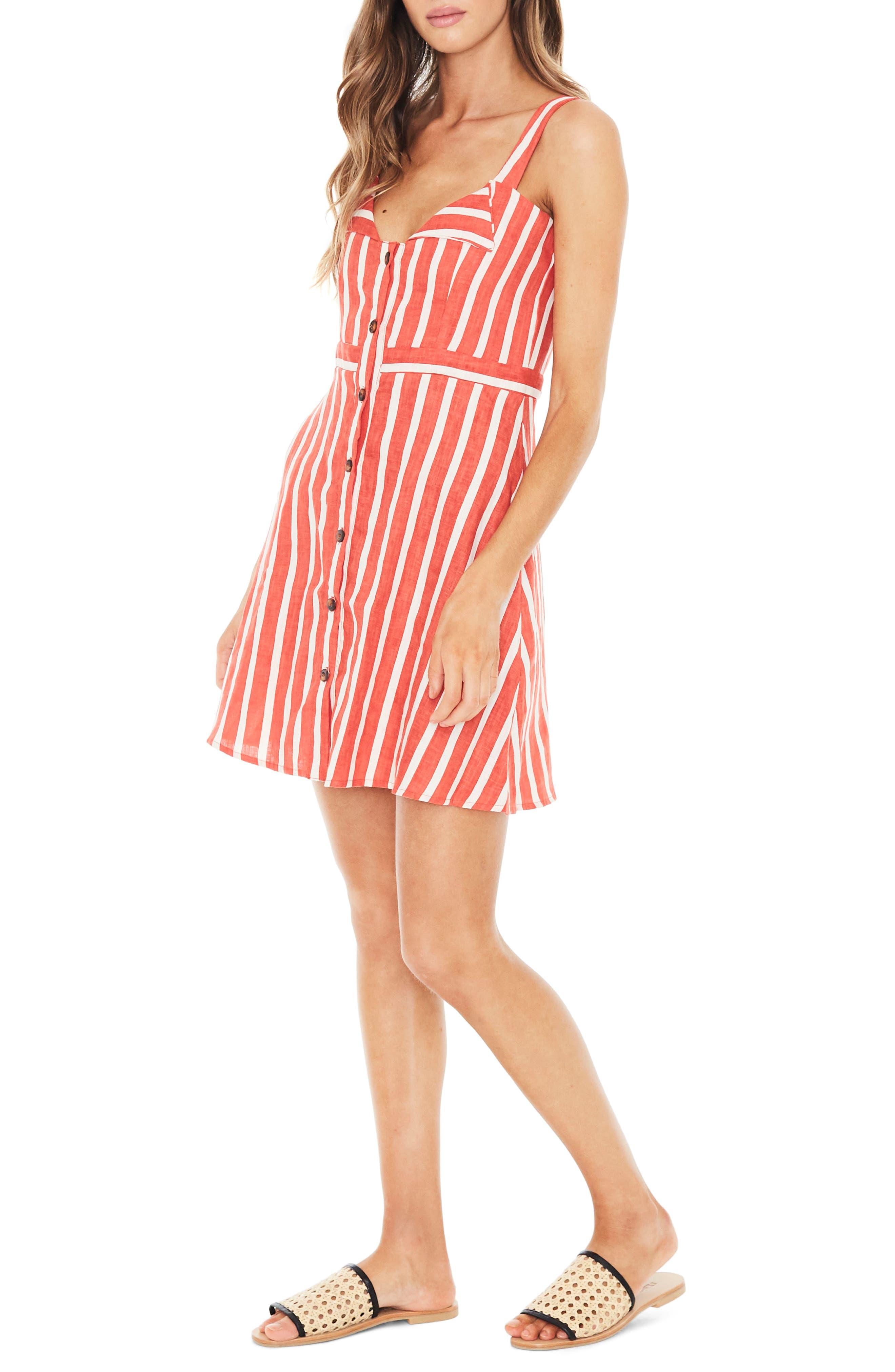 Le Petite Linen Dress,                             Alternate thumbnail 3, color,                             MAZUR STRIPE PRINT - TANGERINE