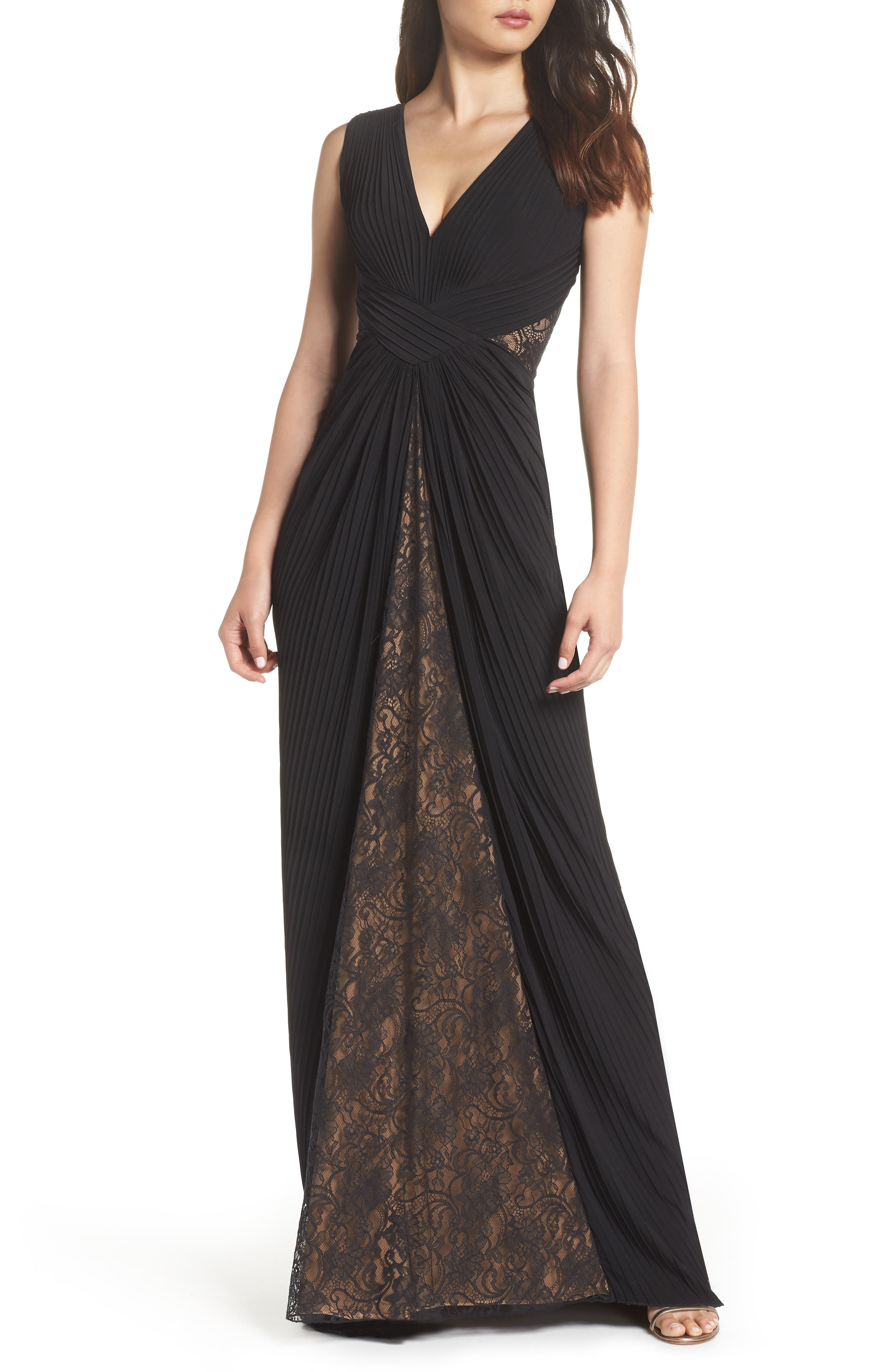 TADASHI SHOJI Pintuck Jersey & Lace V-Neck Gown in Black/ Nude