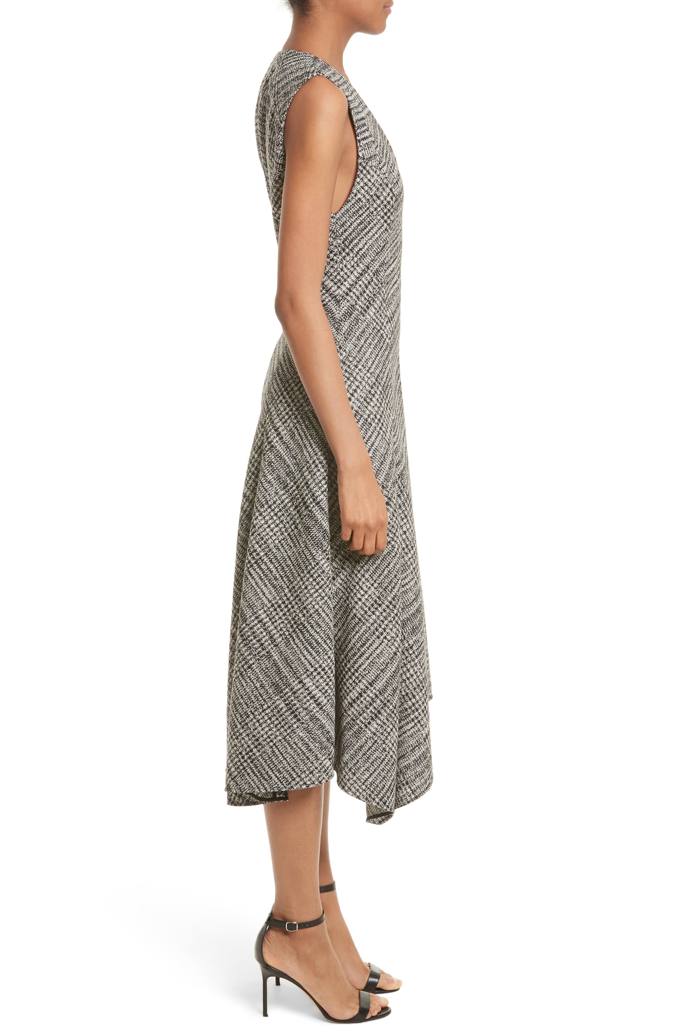 Check Wool Fit & Flare Dress,                             Alternate thumbnail 3, color,                             001