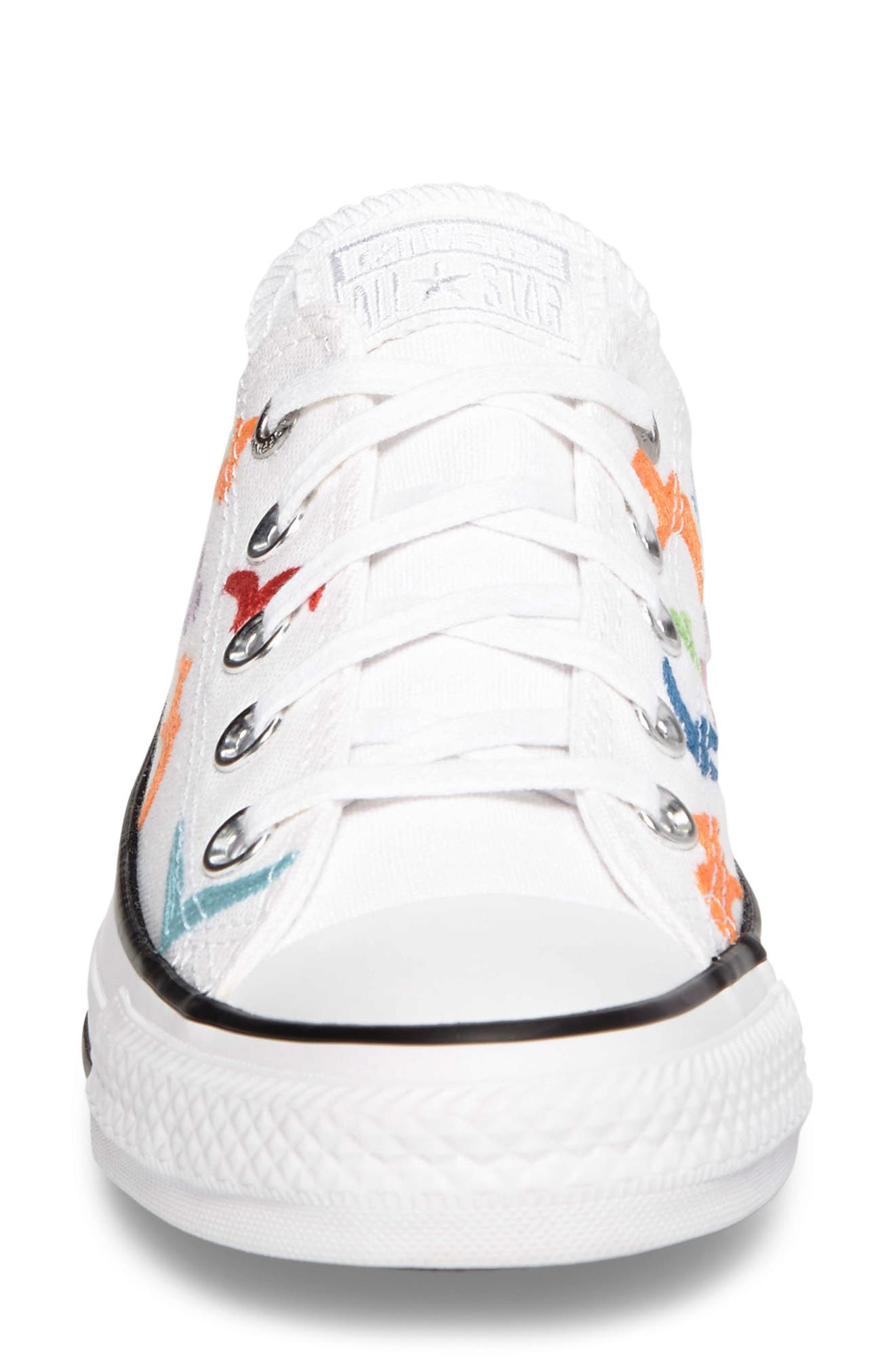 x Mara Hoffman All Star<sup>®</sup> Embroidered Ox Sneaker,                             Alternate thumbnail 4, color,                             100