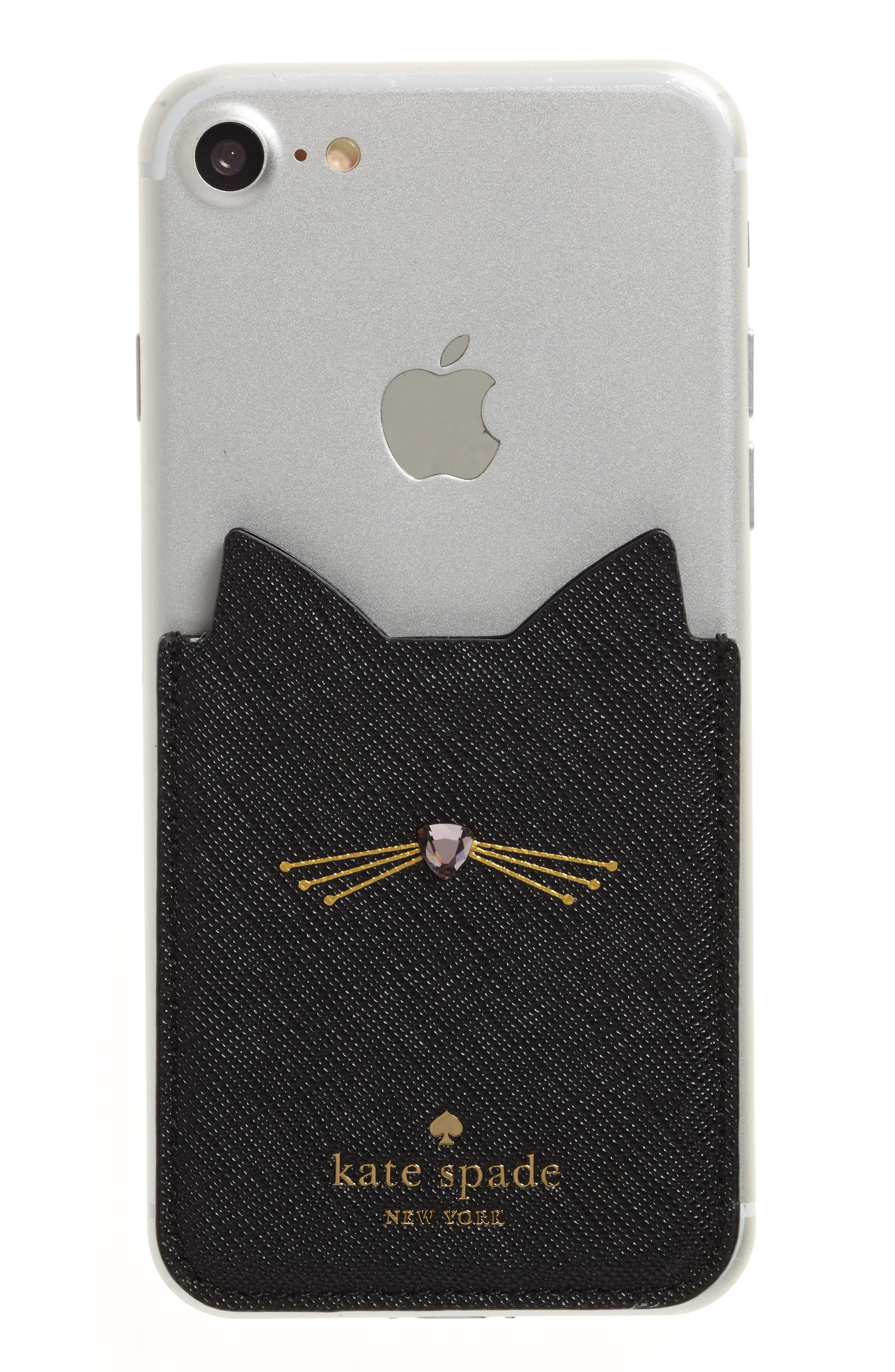 cat iPhone 7/8 sticker pocket,                             Main thumbnail 1, color,                             BLACK