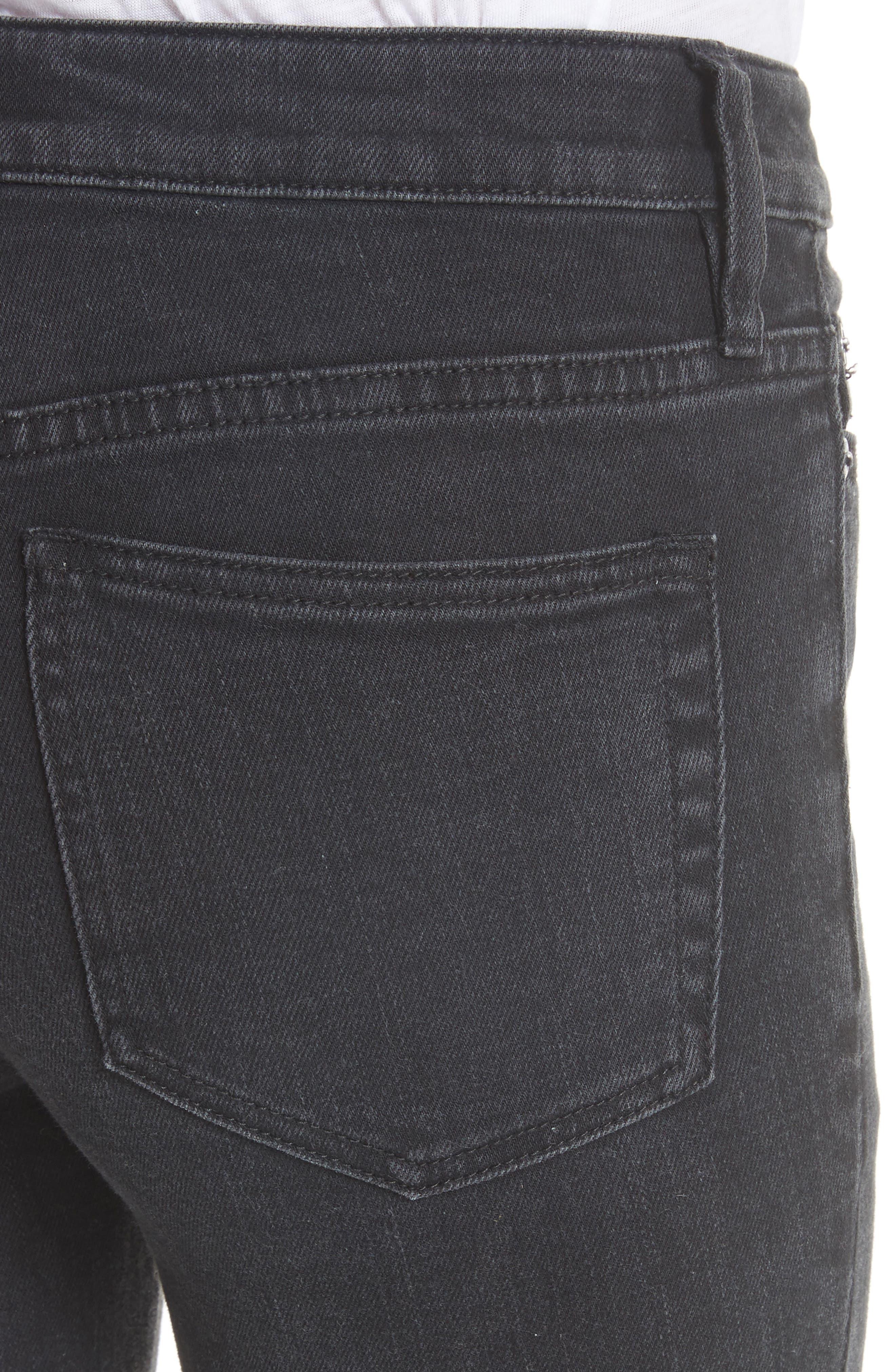 Cutwork Cigarette Jeans,                             Alternate thumbnail 4, color,                             001