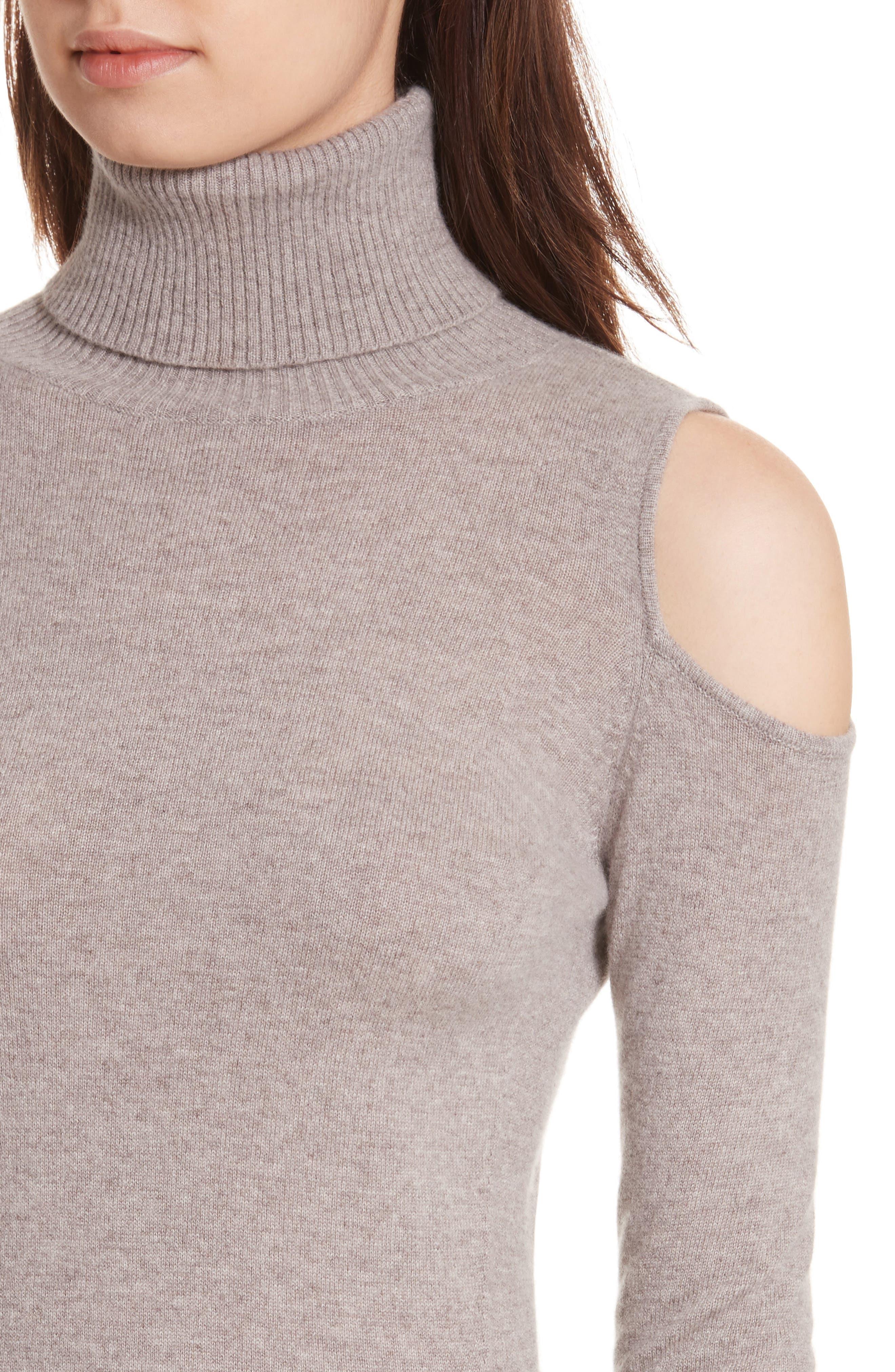 Cashmere Cold Shoulder Turtleneck Sweater Dress,                             Alternate thumbnail 8, color,
