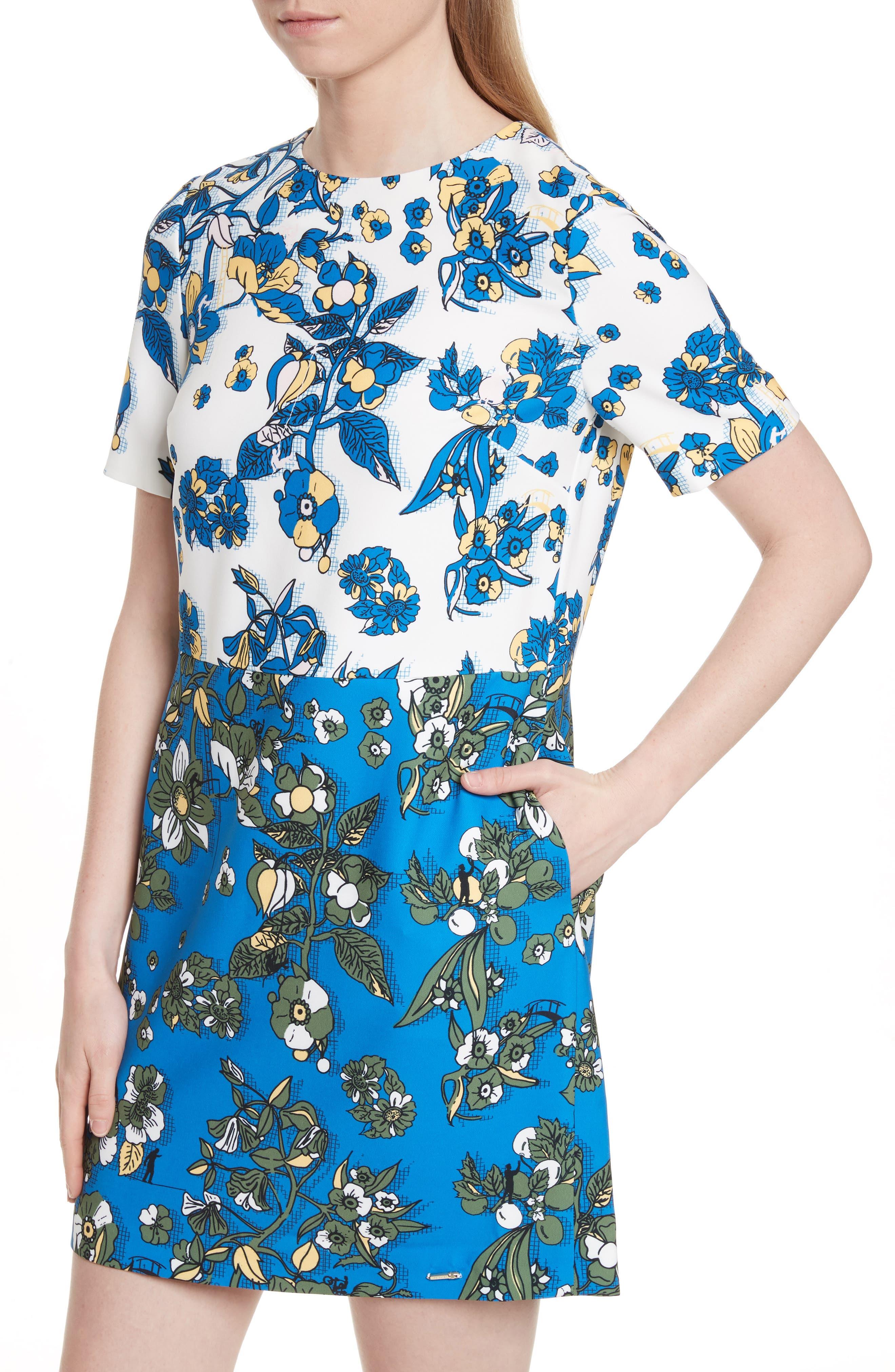 Colorblock Floral Shift Dress,                             Alternate thumbnail 4, color,                             402