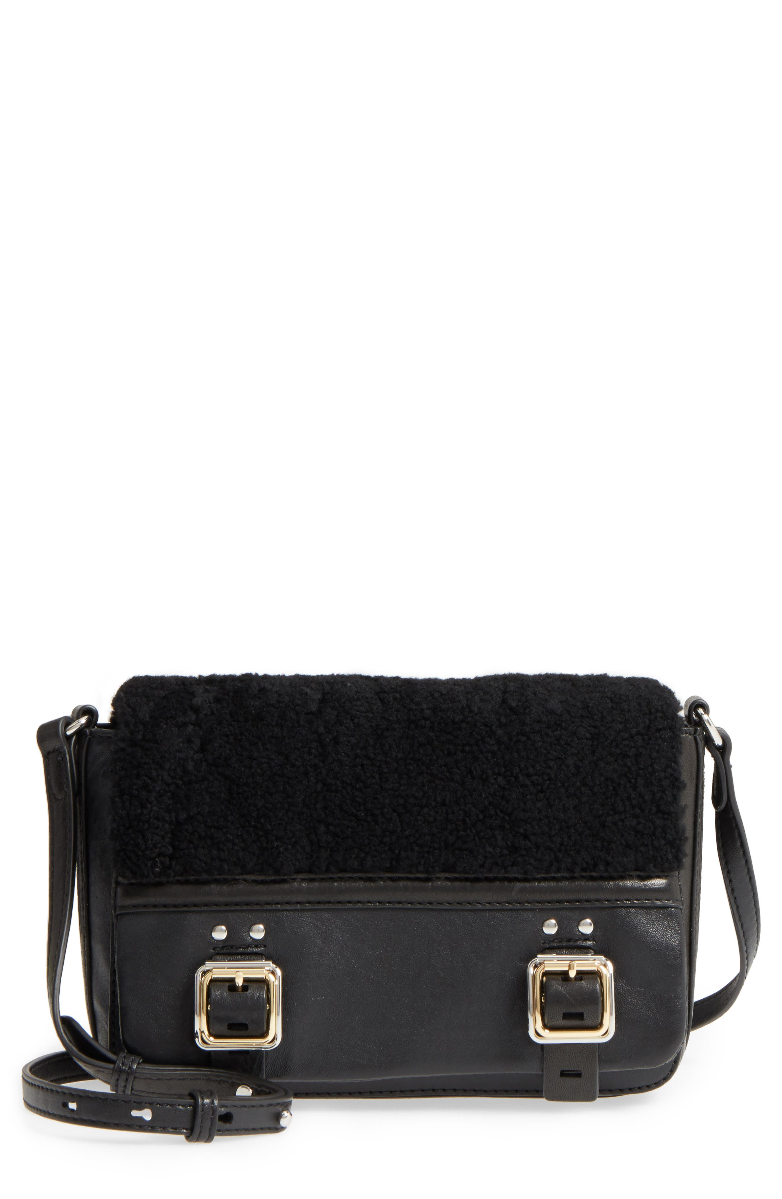 Delos Genuine Shearling & Leather Crossbody Bag,                             Main thumbnail 1, color,                             002