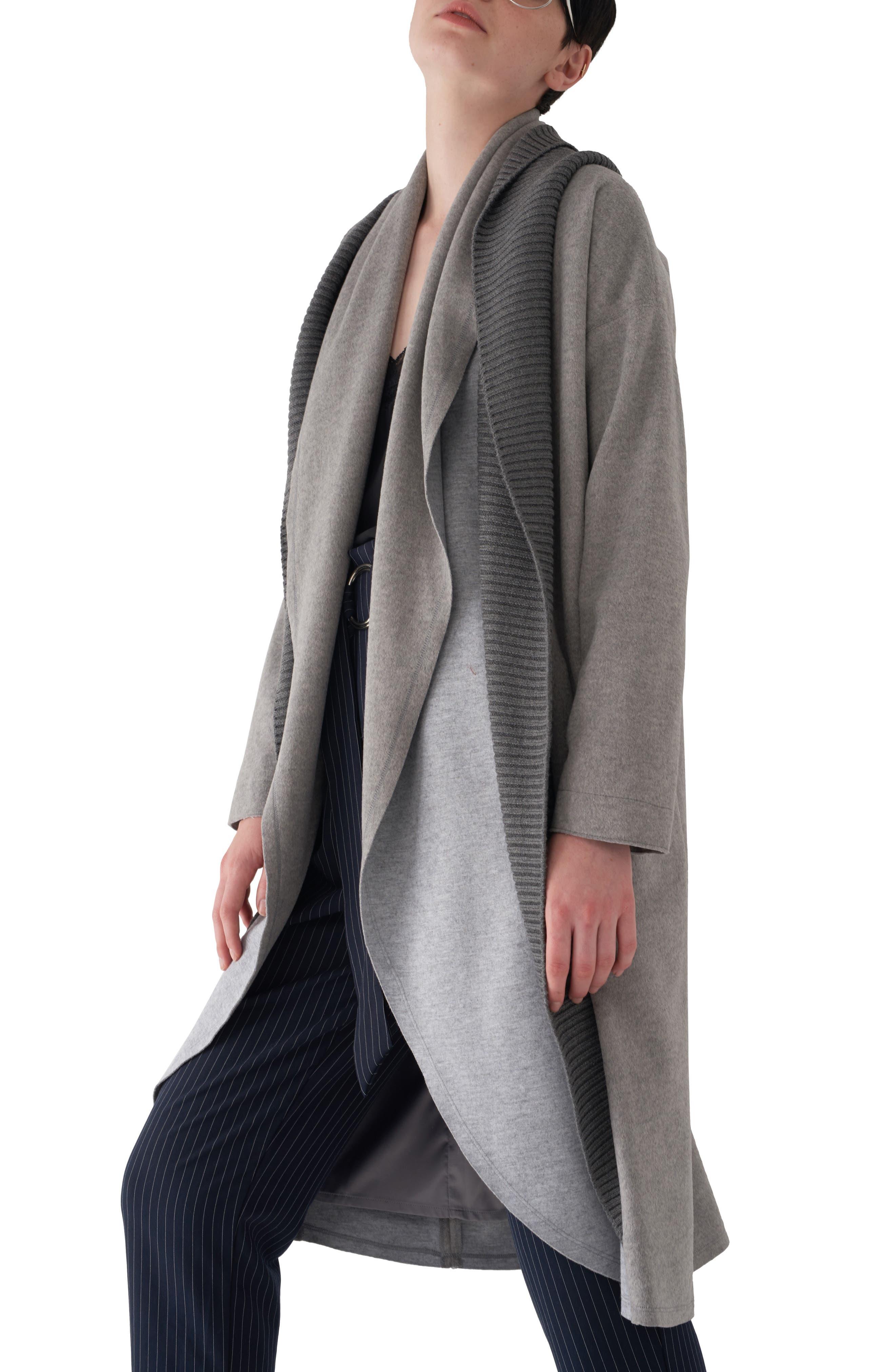 Brandy Stone Grey Duster Coat,                             Alternate thumbnail 3, color,                             GREY