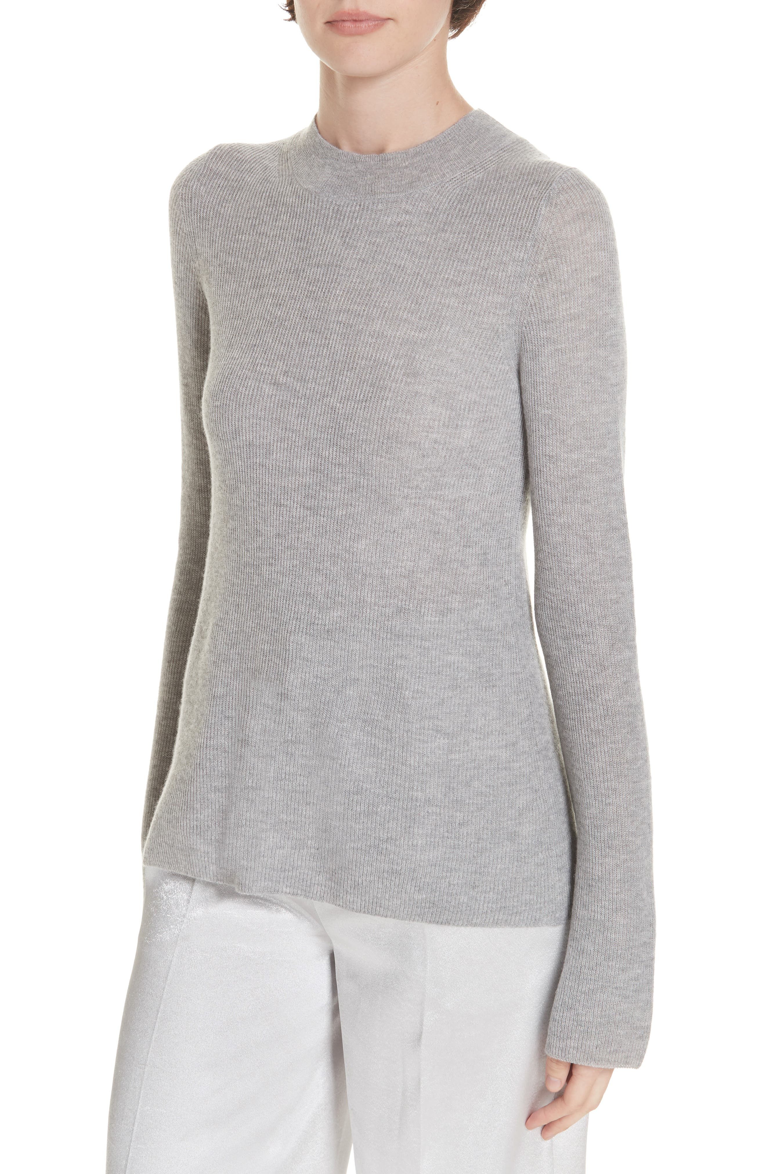 Ribbed Cashmere Sweater,                         Main,                         color, H STEEL