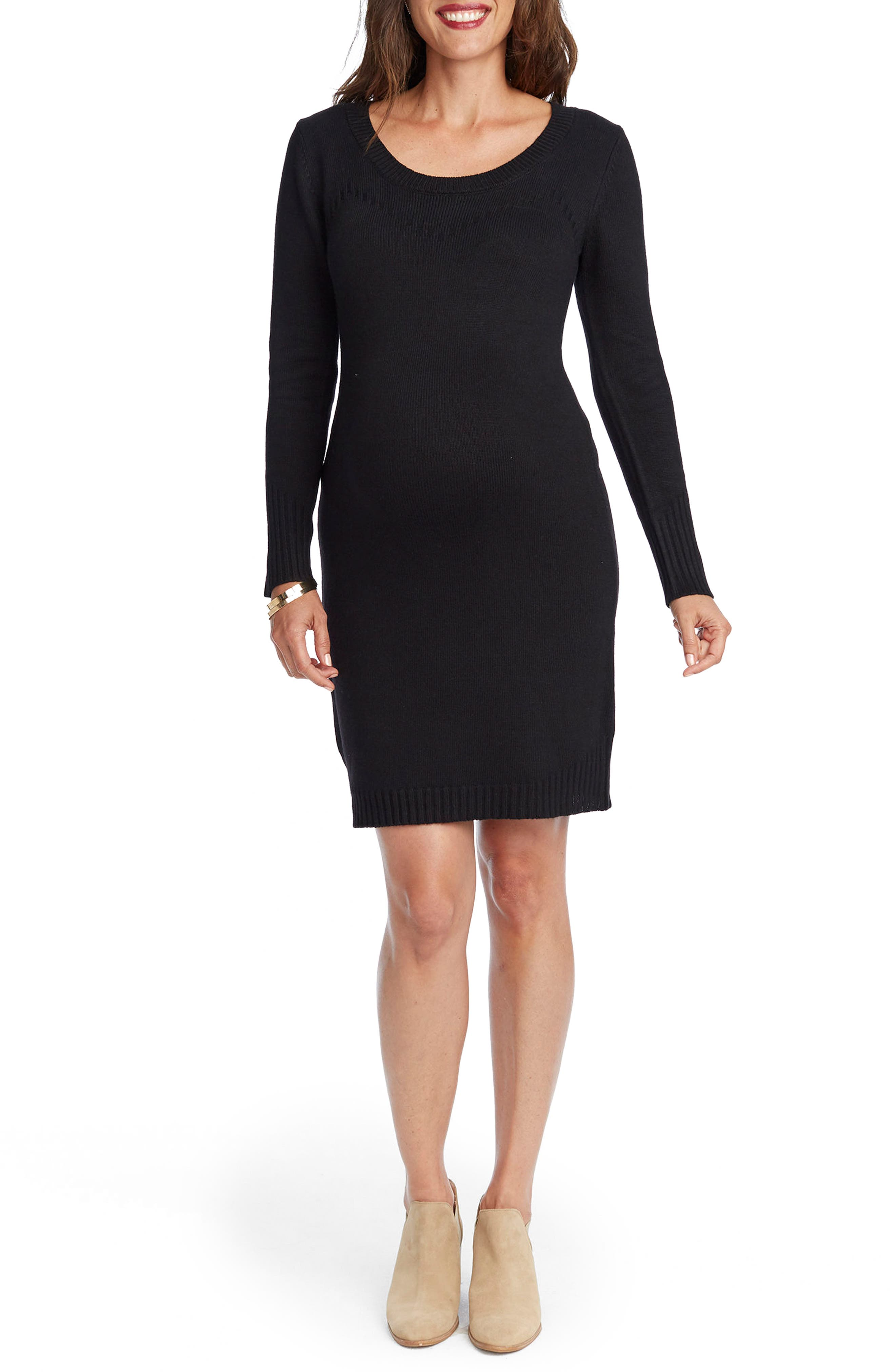 Karlie Maternity Sweater Dress,                         Main,                         color, BLACK