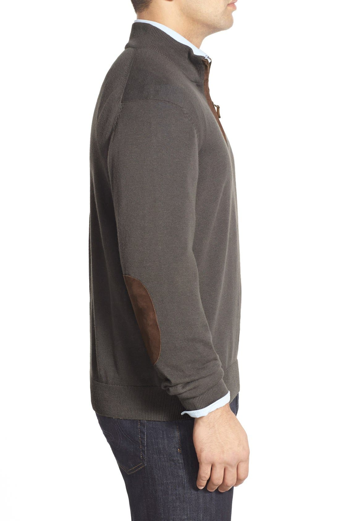 'Round Hill' Quarter Zip Sweater with Suede Elbow Patches,                             Alternate thumbnail 5, color,                             025