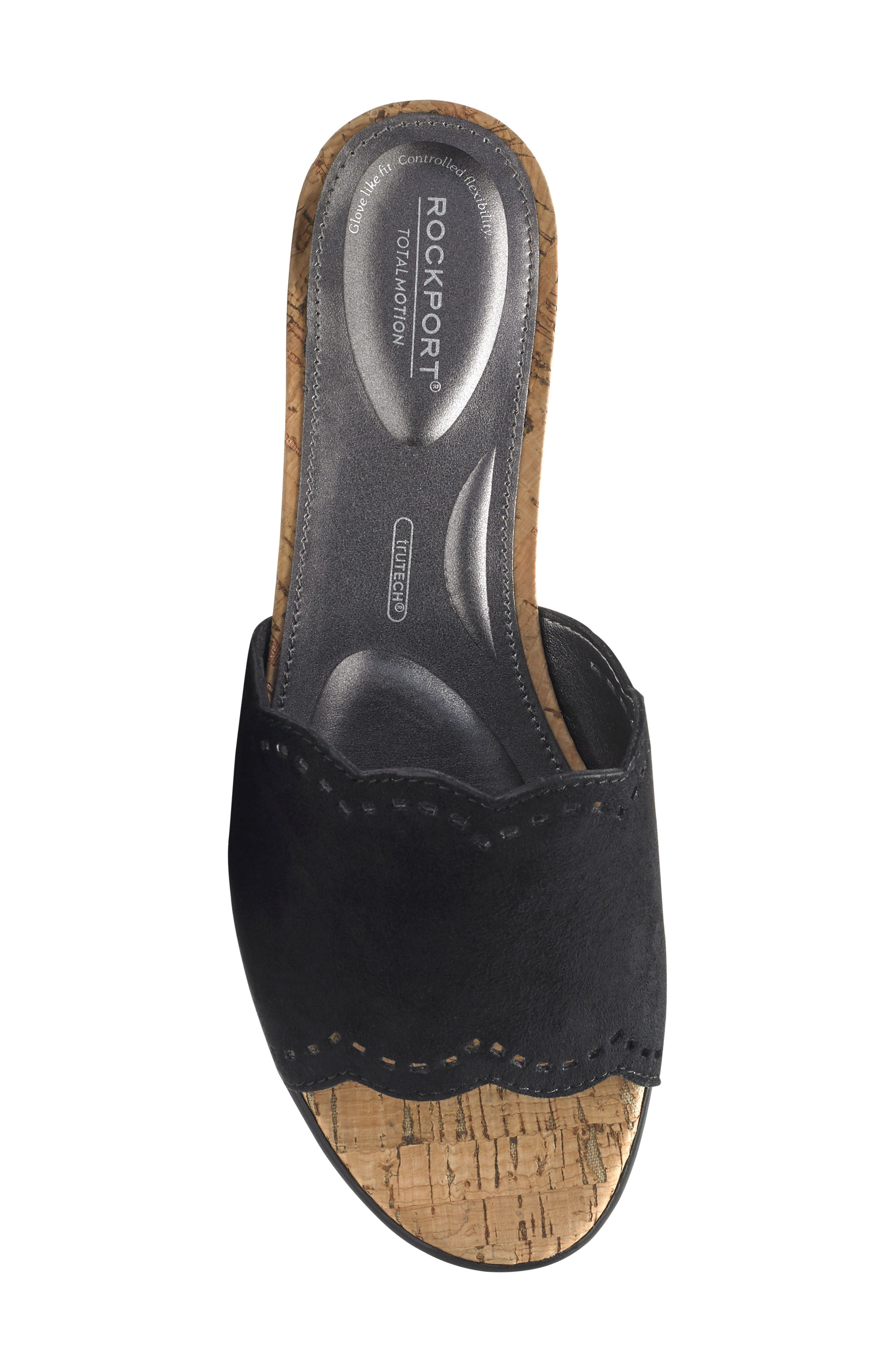 Zandra Total Motion<sup>®</sup> Slide Sandal,                             Alternate thumbnail 5, color,                             BLACK SUEDE