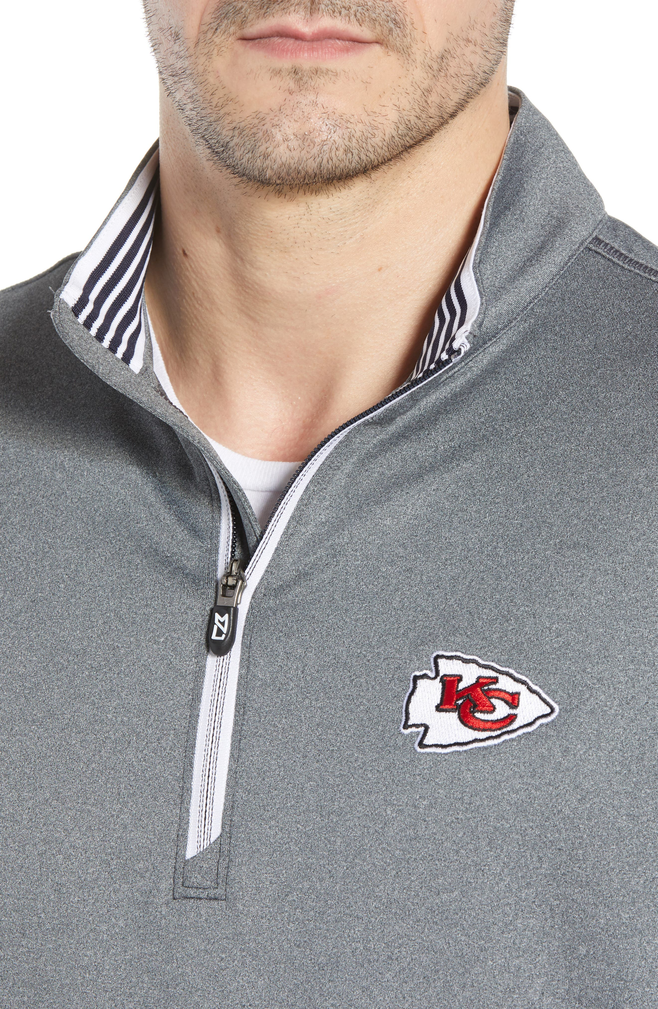 Endurance Kansas City Chiefs Regular Fit Pullover,                             Alternate thumbnail 4, color,                             CHARCOAL HEATHER
