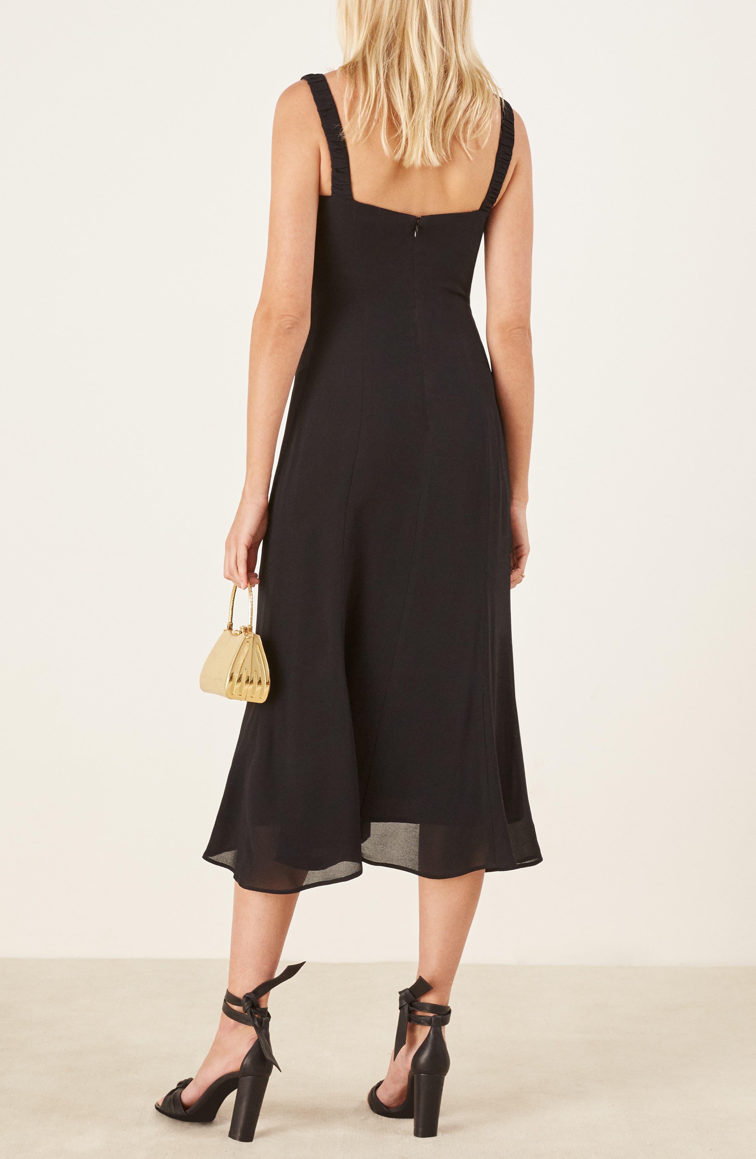 Peridot Side Slit Dress,                             Alternate thumbnail 3, color,                             BLACK