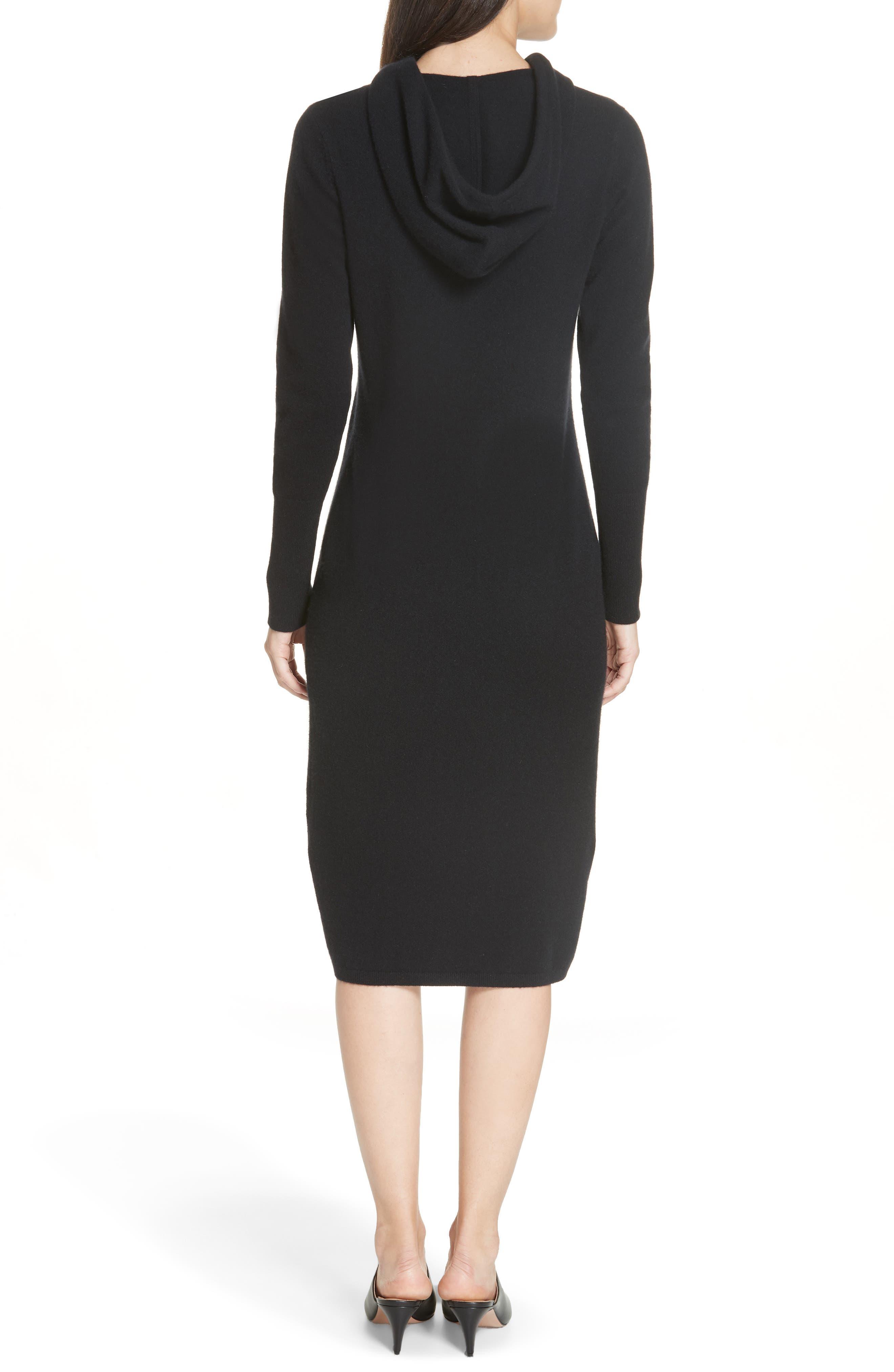 Cashmere Blend Hoodie Dress,                             Alternate thumbnail 2, color,                             BLACK