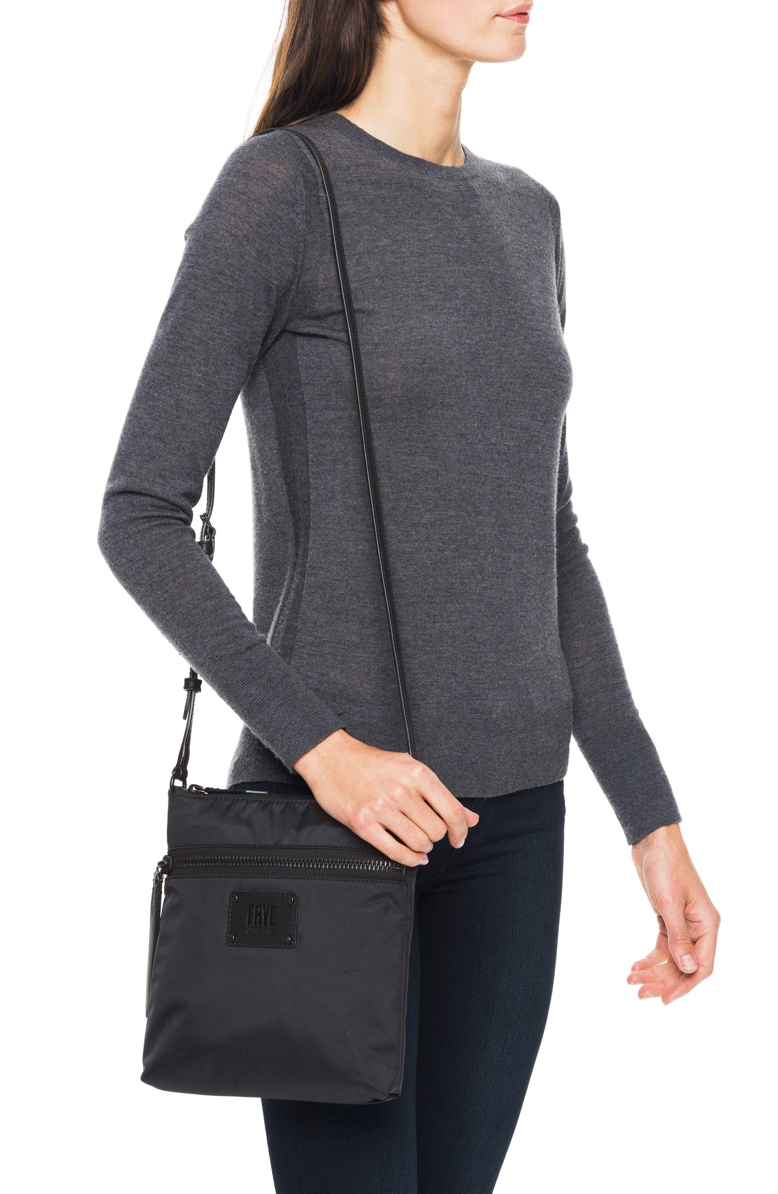 Ivy Nylon Crossbody Bag,                             Alternate thumbnail 2, color,                             MATTE BLACK