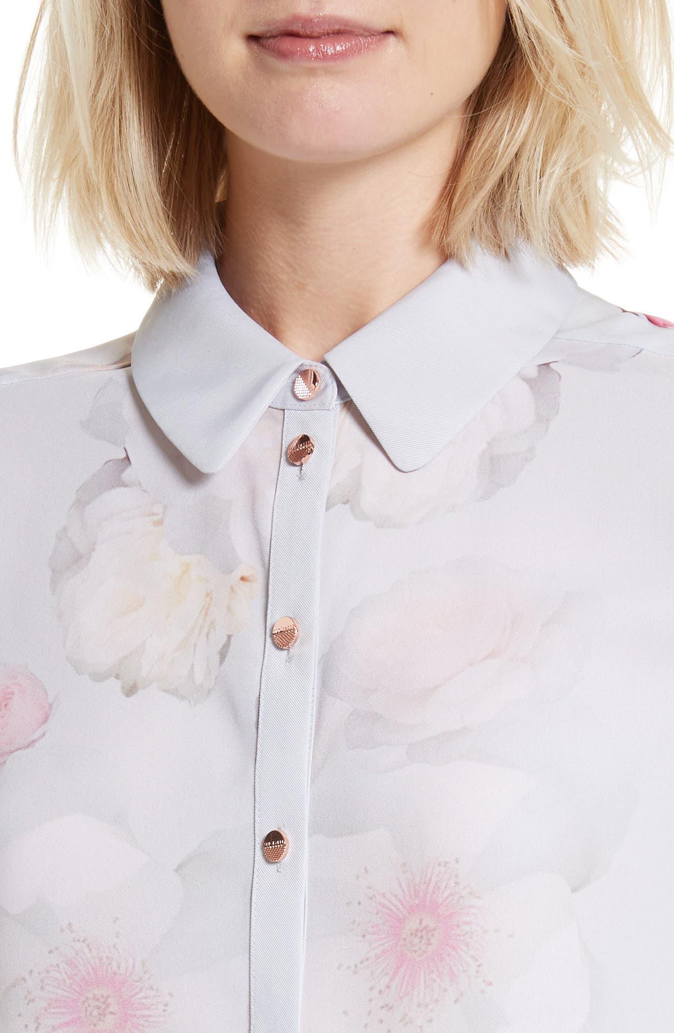 Relar Chelsea Grey Flower Print Shirt,                             Alternate thumbnail 4, color,                             021