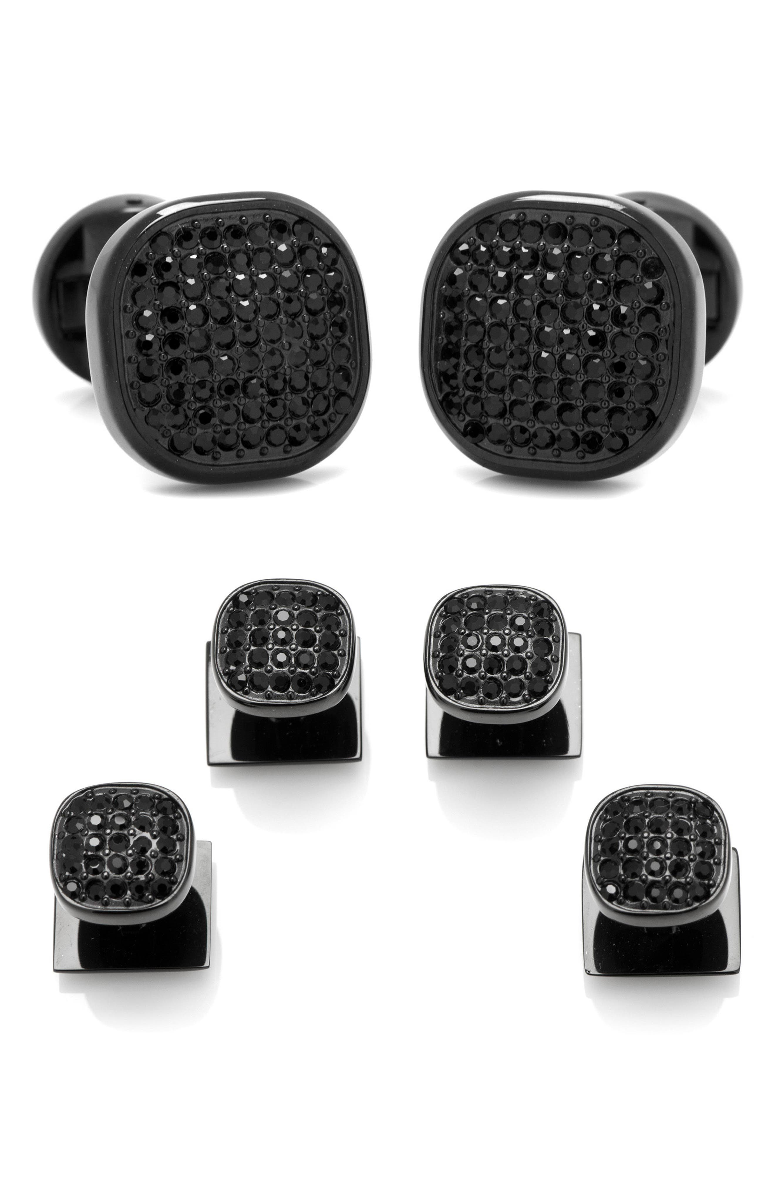 CUFFLINKS INC. Pavé Crystal And Stainless Steel Cufflinks in Black