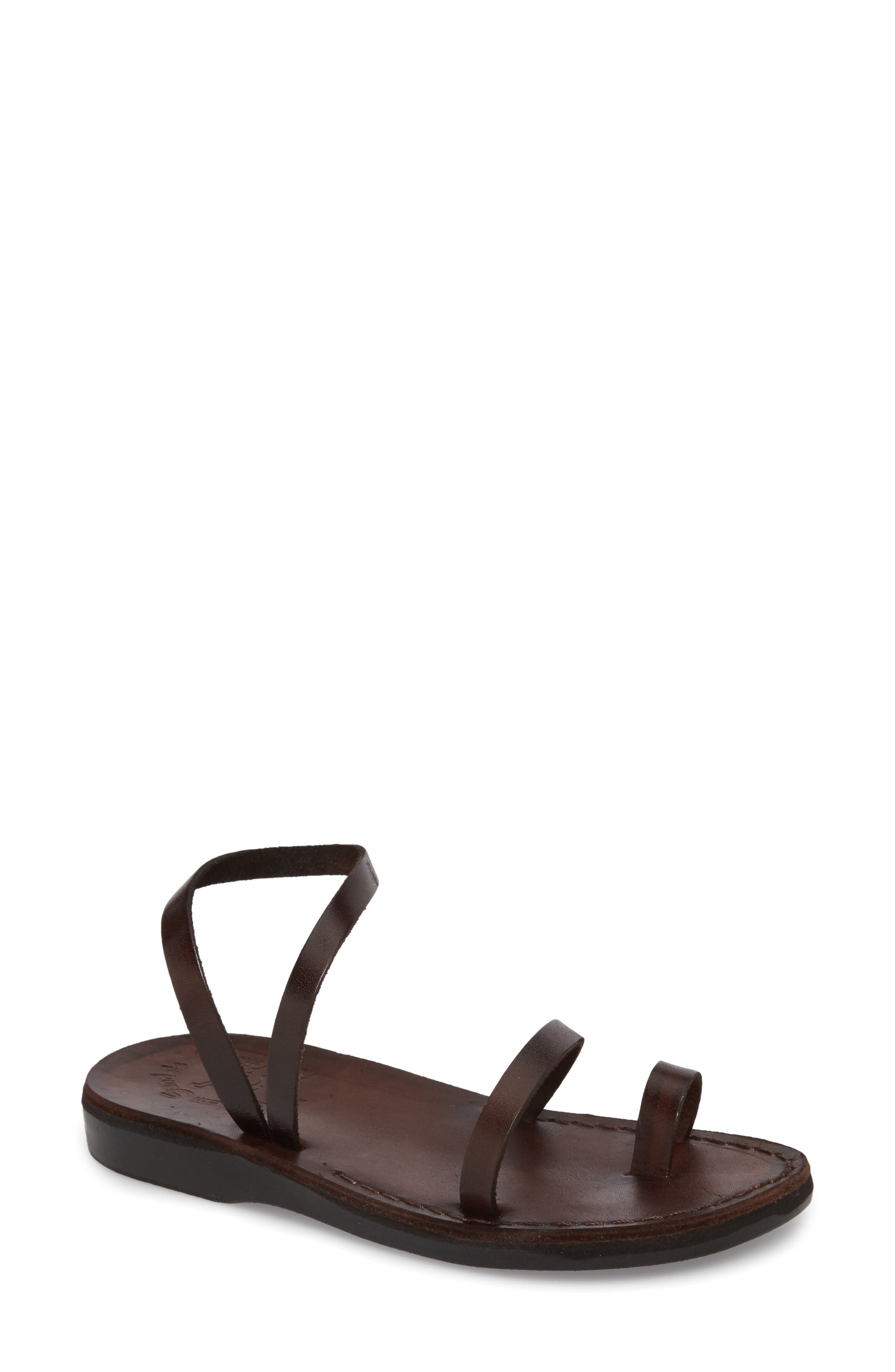 Ella Sandal,                             Main thumbnail 1, color,                             BROWN LEATHER