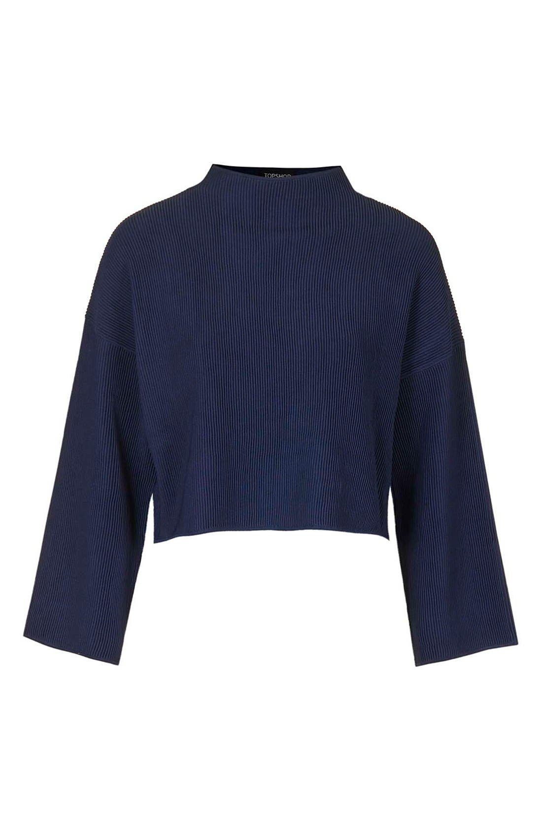 Funnel Neck Ribbed Crop Top,                             Alternate thumbnail 2, color,                             410