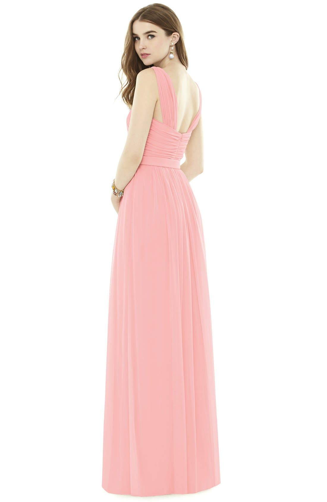 Pleat Chiffon Knit A-Line Gown with Belt,                             Alternate thumbnail 2, color,                             633