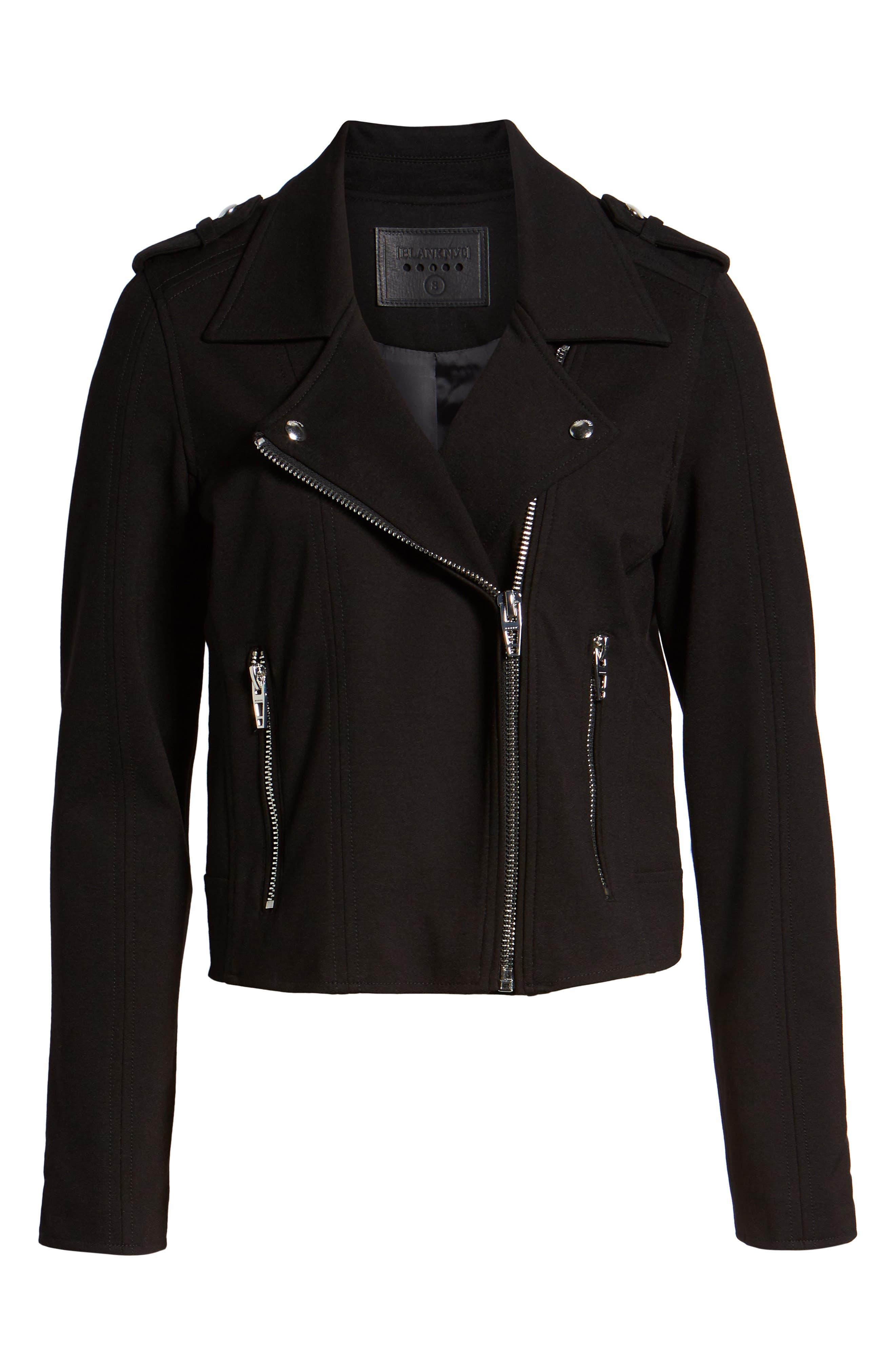 Knit Moto Jacket,                             Alternate thumbnail 6, color,                             CAVIAR