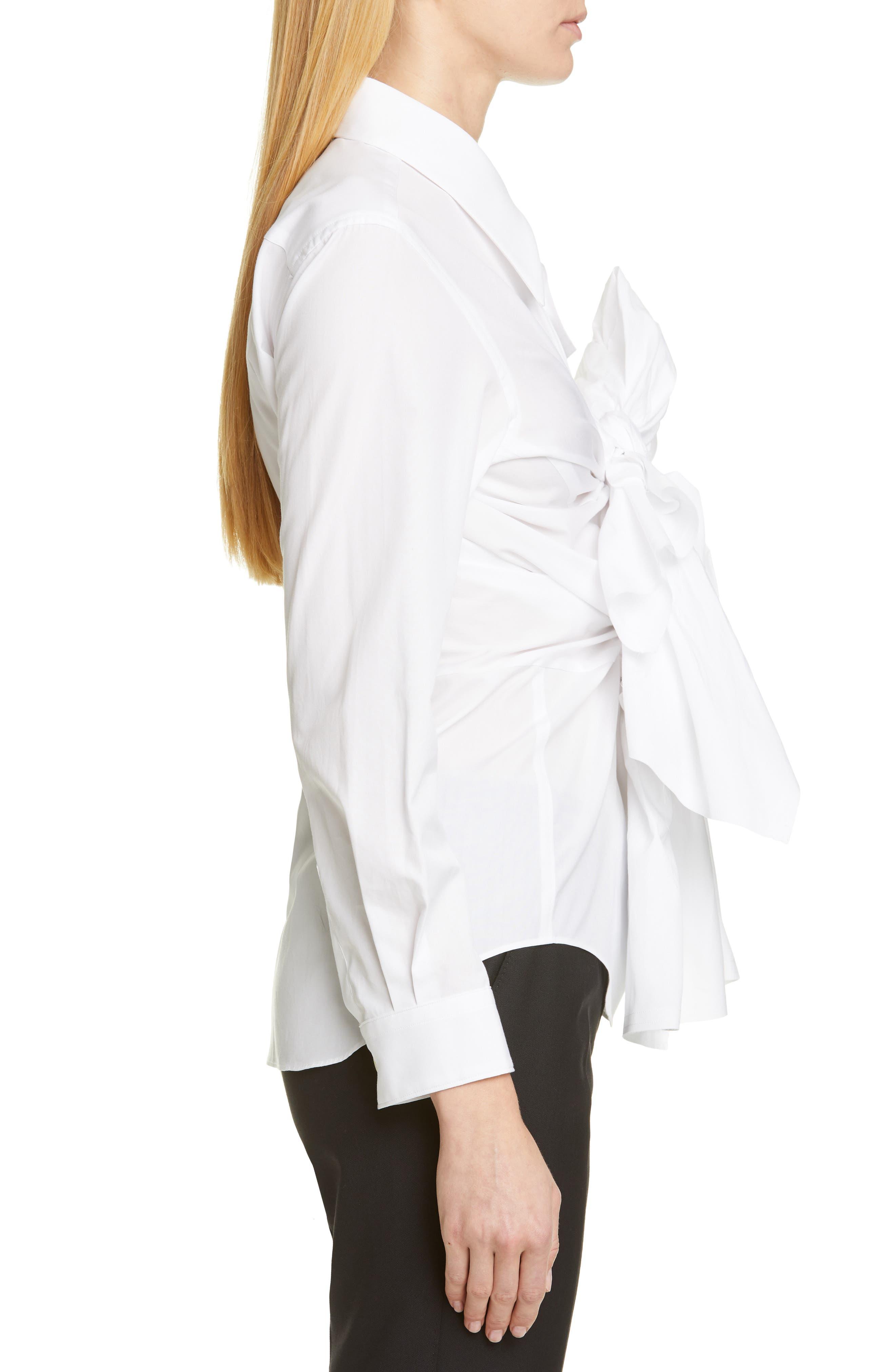 COMME DES GARÇONS,                             Tie Front Shirt,                             Alternate thumbnail 3, color,                             WHITE