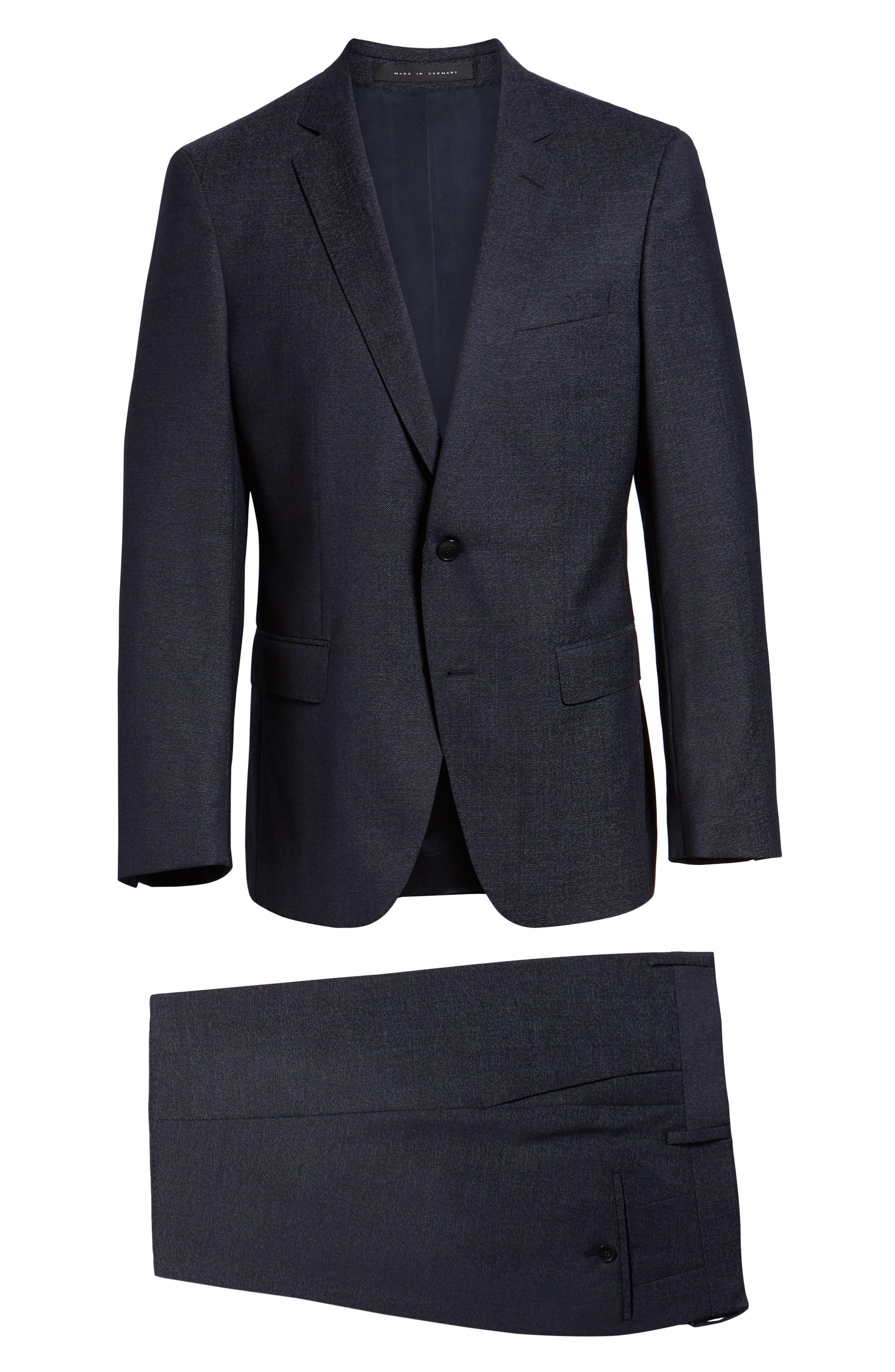 Huge/Genius Trim Fit Solid Wool Suit,                             Alternate thumbnail 8, color,                             OPEN BLUE