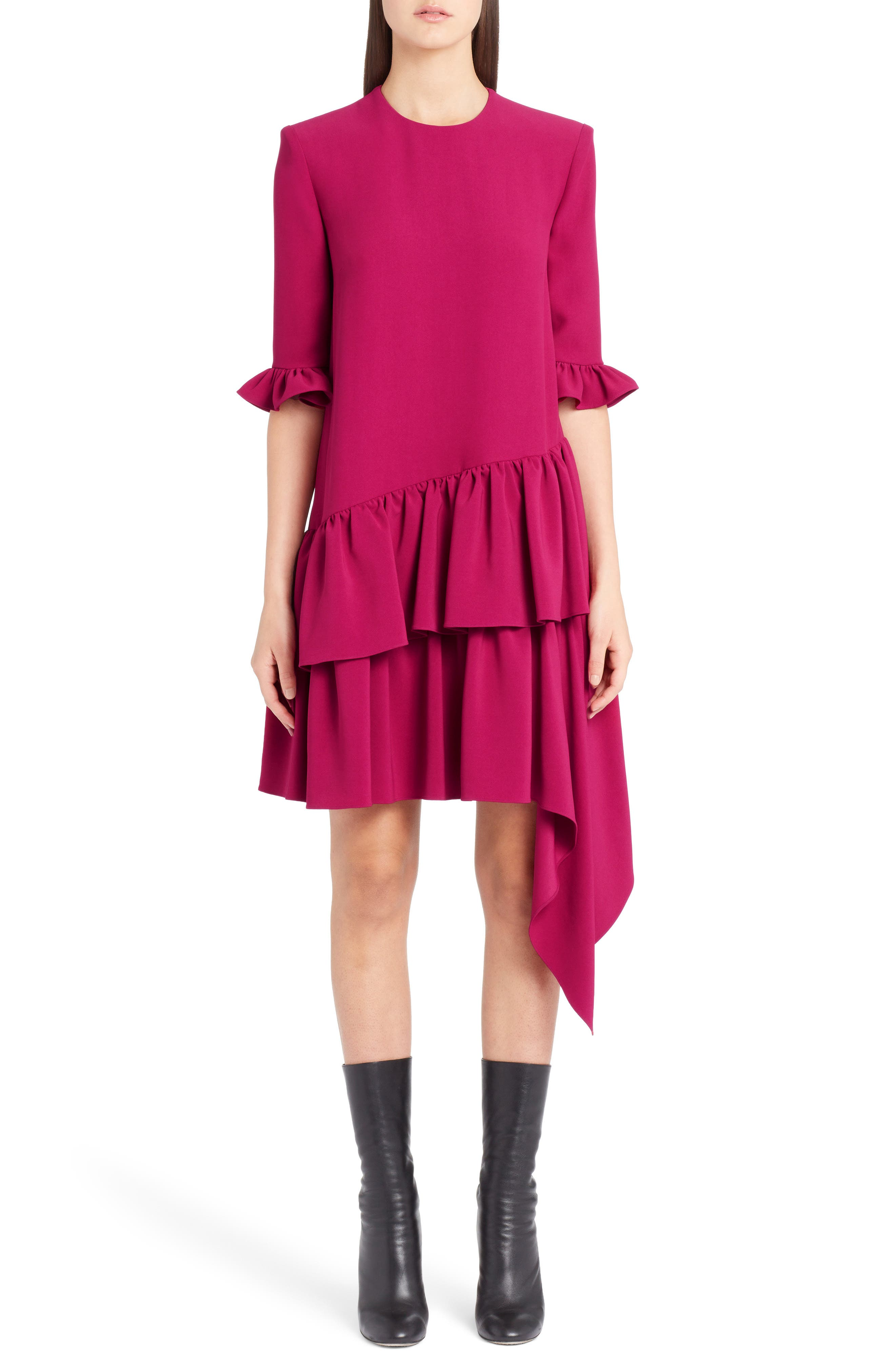 Alexander Mcqueen Asymmetrical Ruffle Hem Crepe Dress, US / 40 IT - Pink