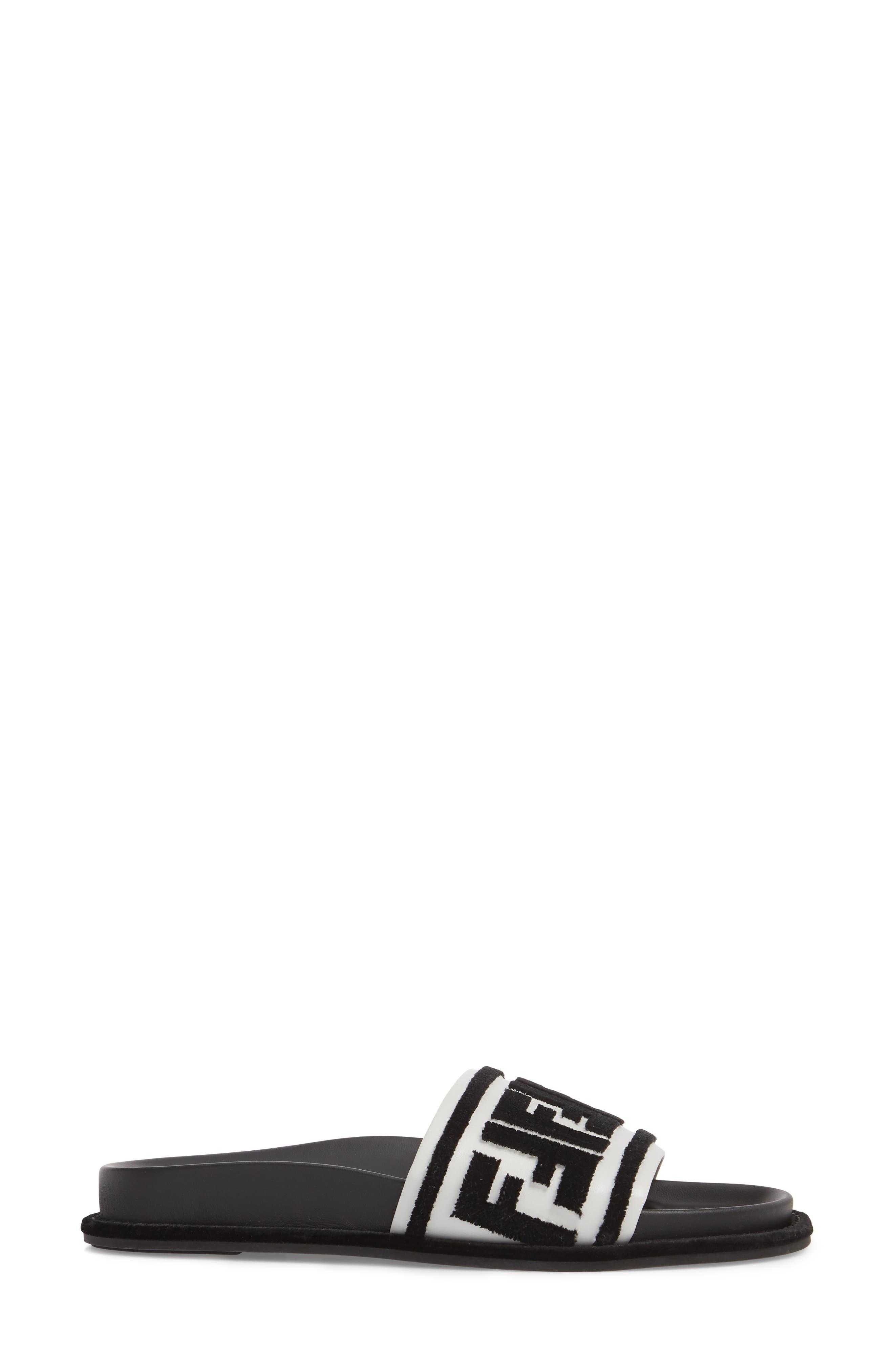 Fun Fendi Logo Slide Sandal,                             Alternate thumbnail 3, color,                             BLACK/ WHITE