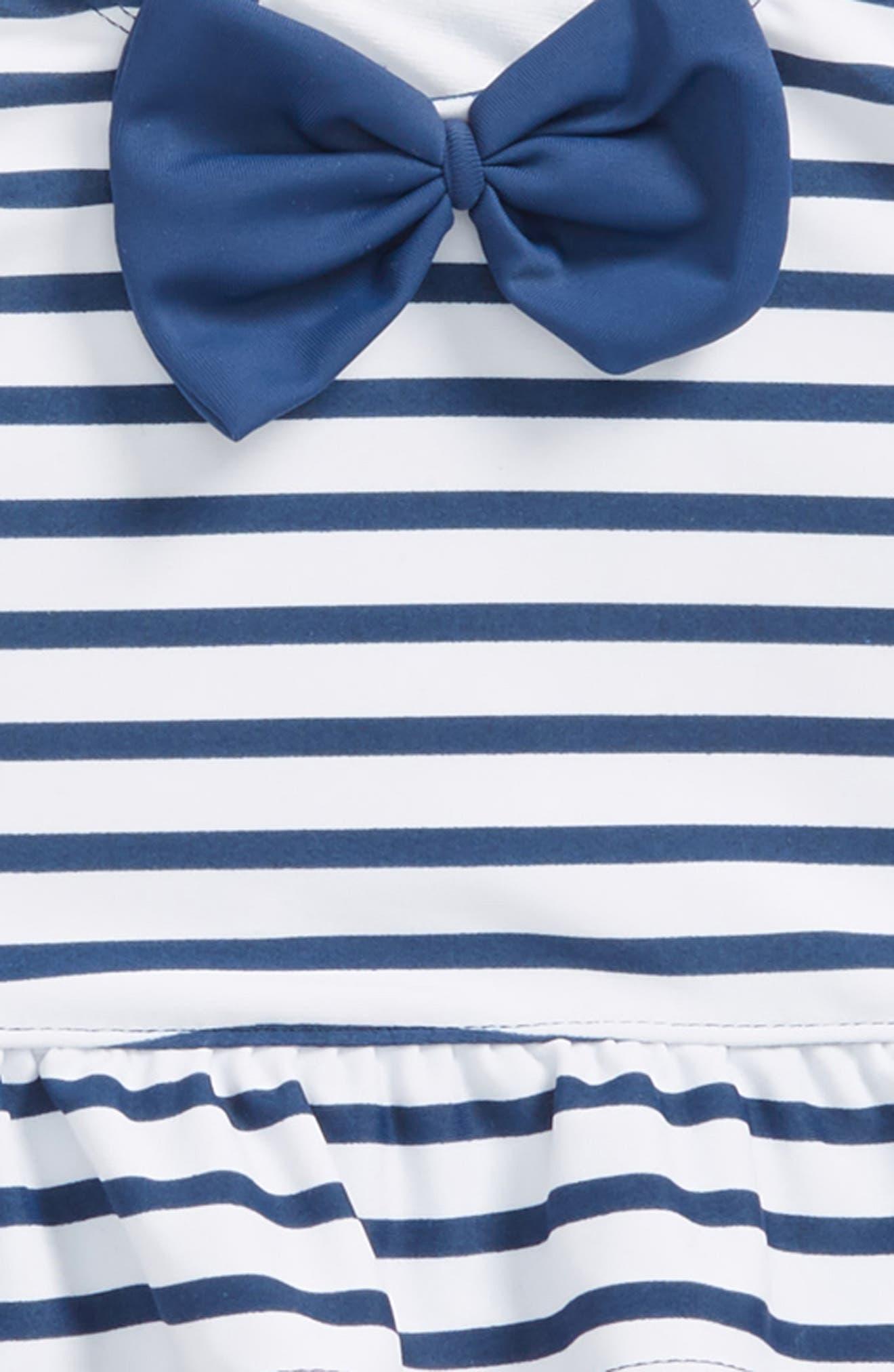 Stripe Peplum Two-Piece Tankini Swimsuit & Reversible Hat Set,                             Alternate thumbnail 2, color,                             NAVY