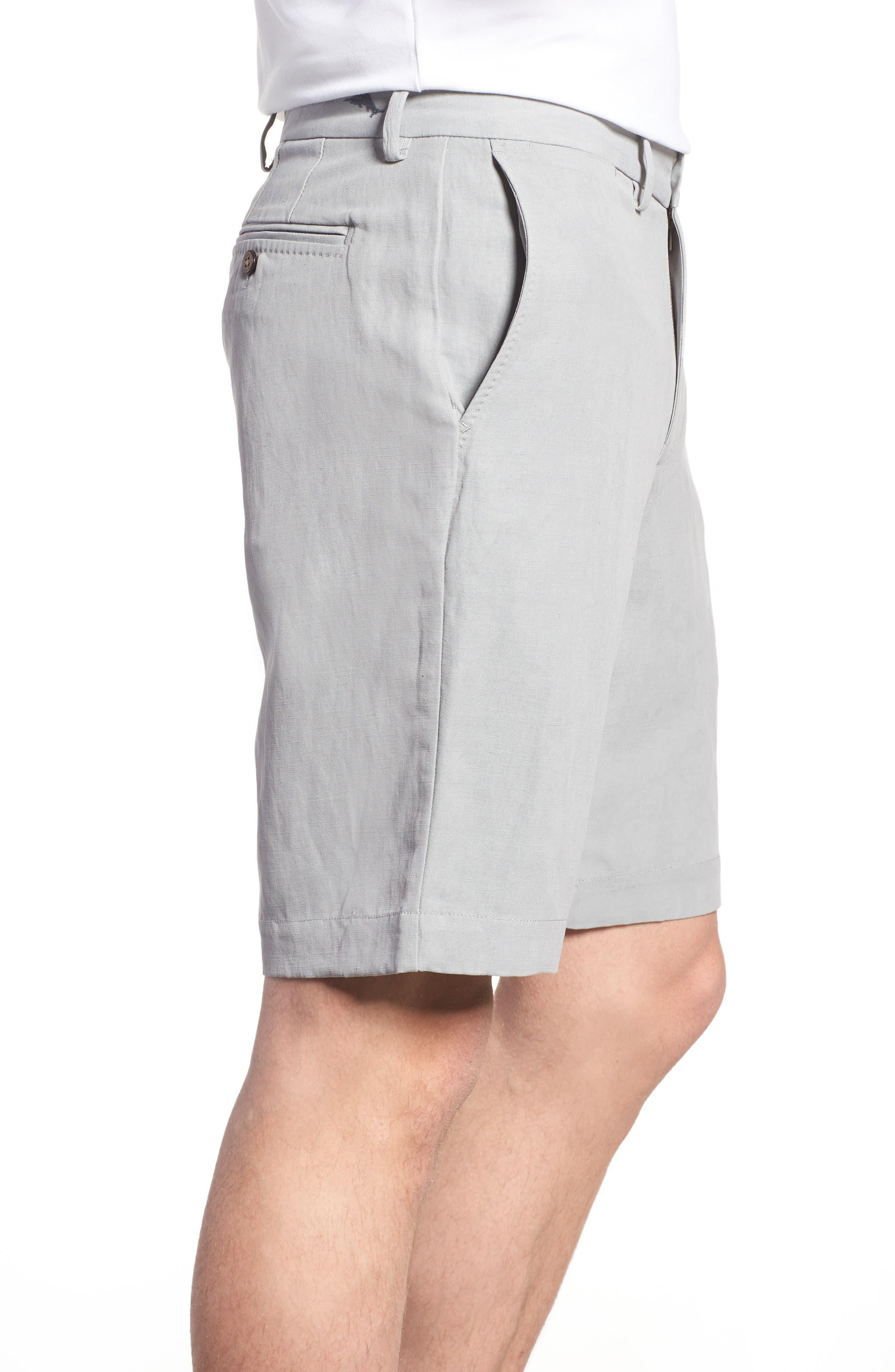 Monterey Flat Front Silk & Linen Shorts,                             Alternate thumbnail 3, color,                             LIGHT GREY