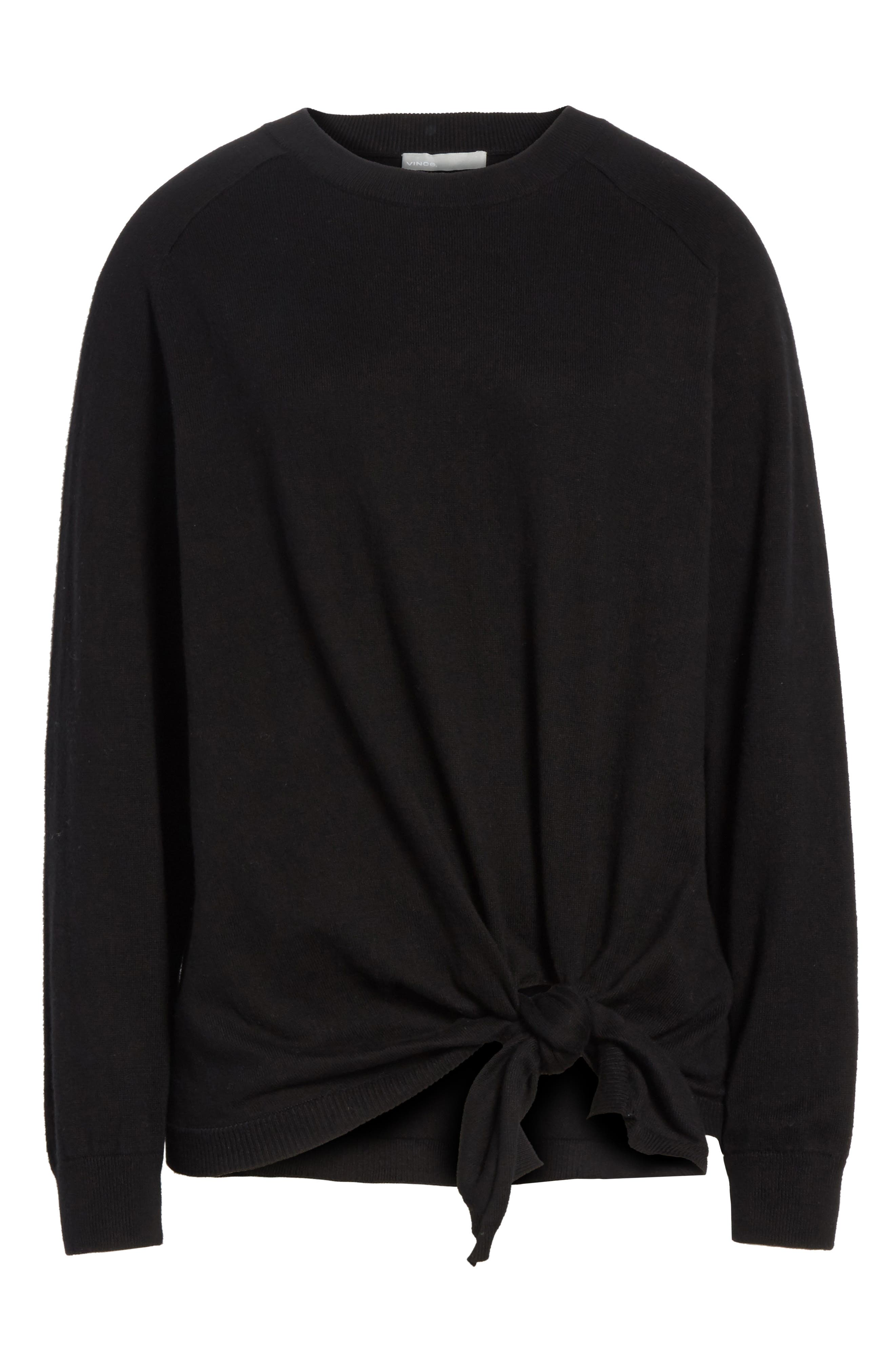 Tie Waist Sweater,                             Alternate thumbnail 6, color,                             001