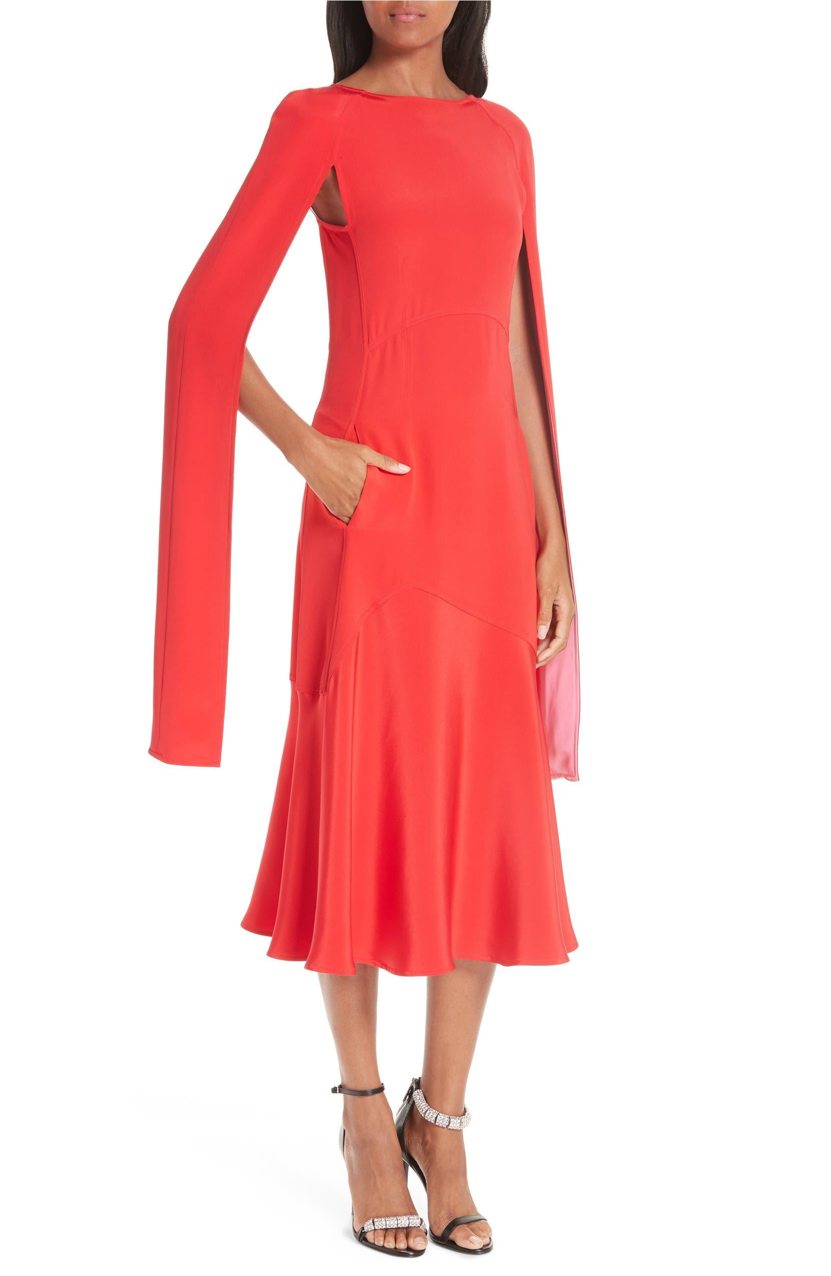 d550cf1e8f CALVIN KLEIN 205W39NYC Cape Sleeve Silk Cady Midi Dress