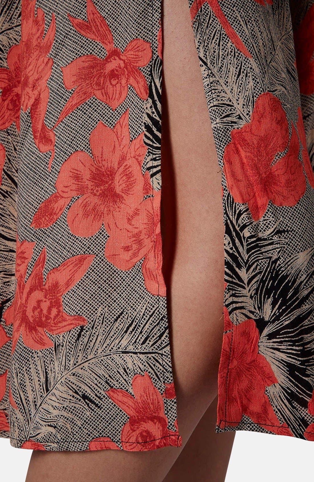 Floral Split Midi Skirt,                             Alternate thumbnail 5, color,                             210