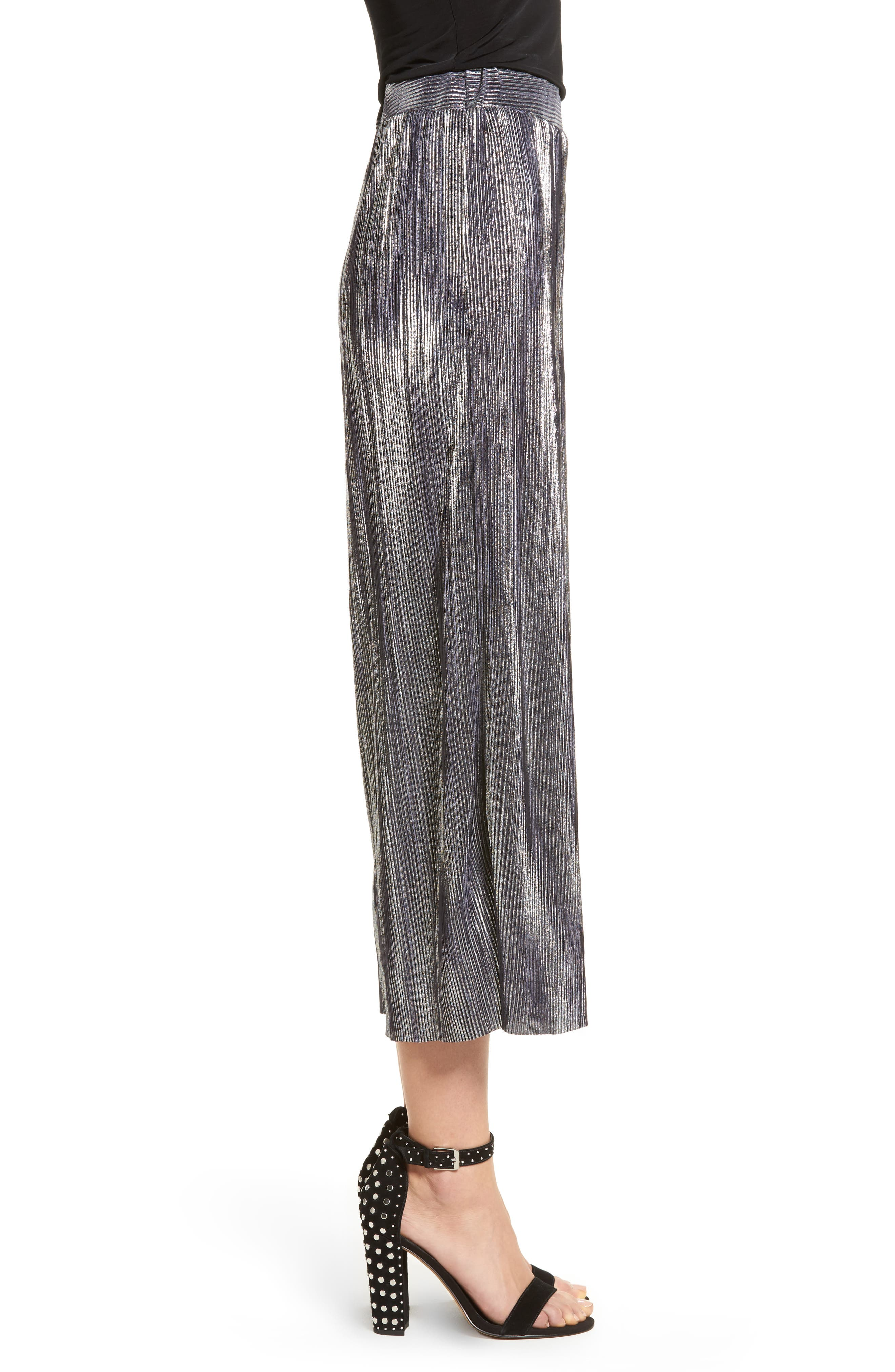 Metallic Pleated Crop Pants,                             Alternate thumbnail 3, color,                             046