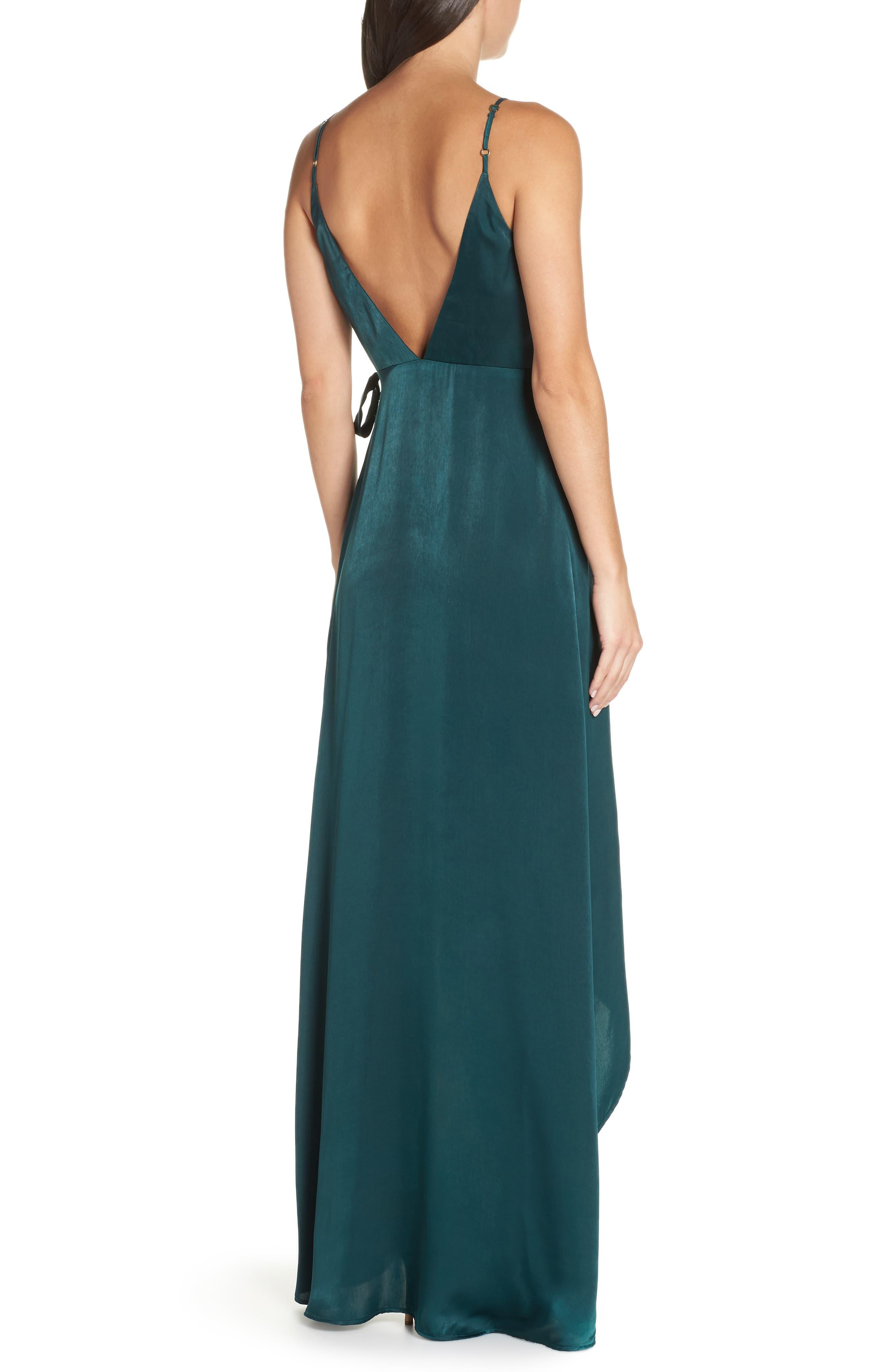 Mariah Satin Wrap Evening Dress,                             Alternate thumbnail 2, color,                             301