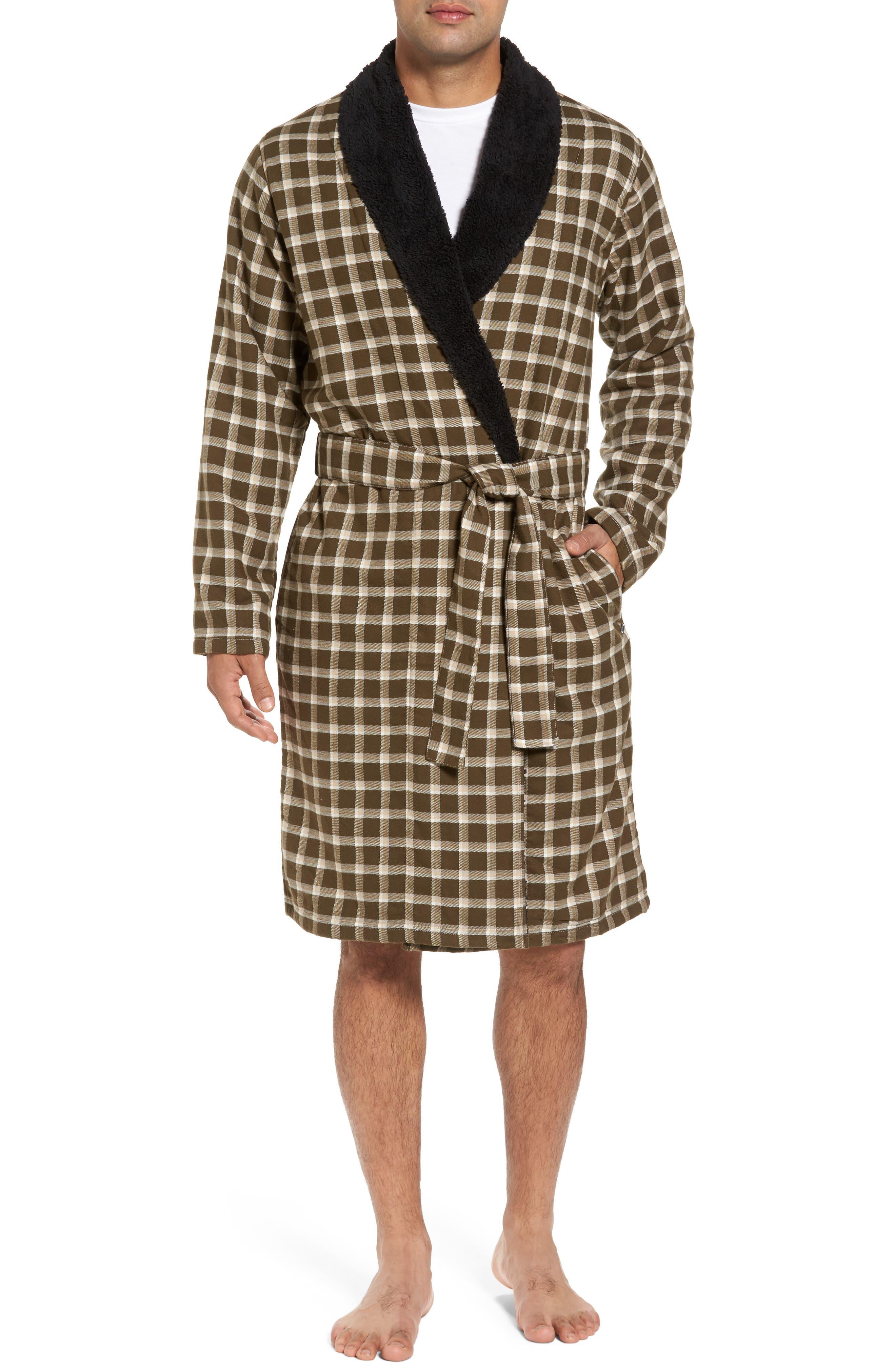 Kalib Plaid Flannel Robe,                         Main,                         color,