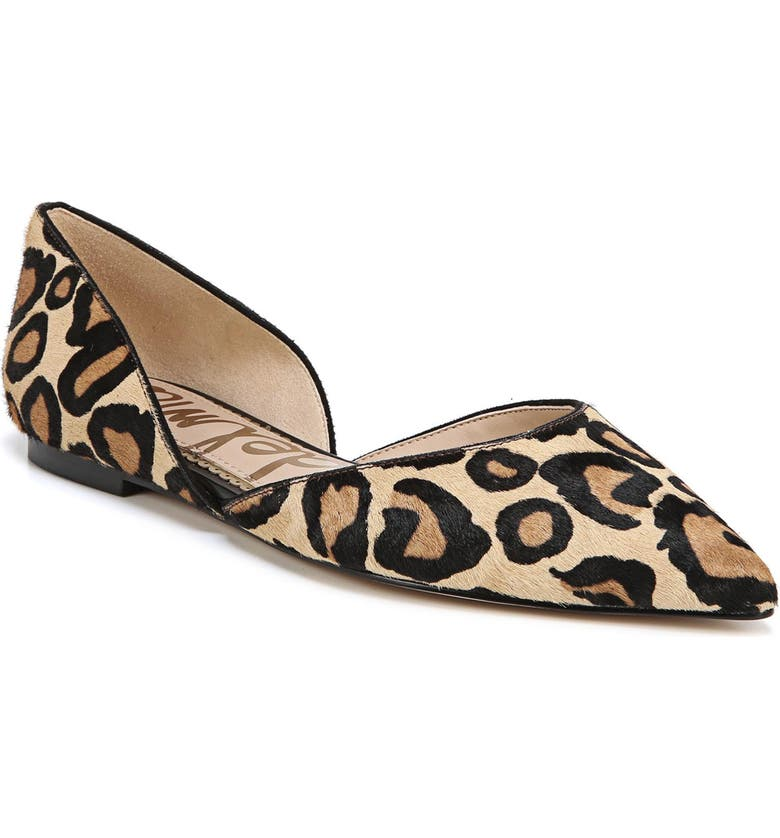 Rodney Pointy Toe Genuine Calf Hair Flat, Main, color, NEW NUDE LEOPARD