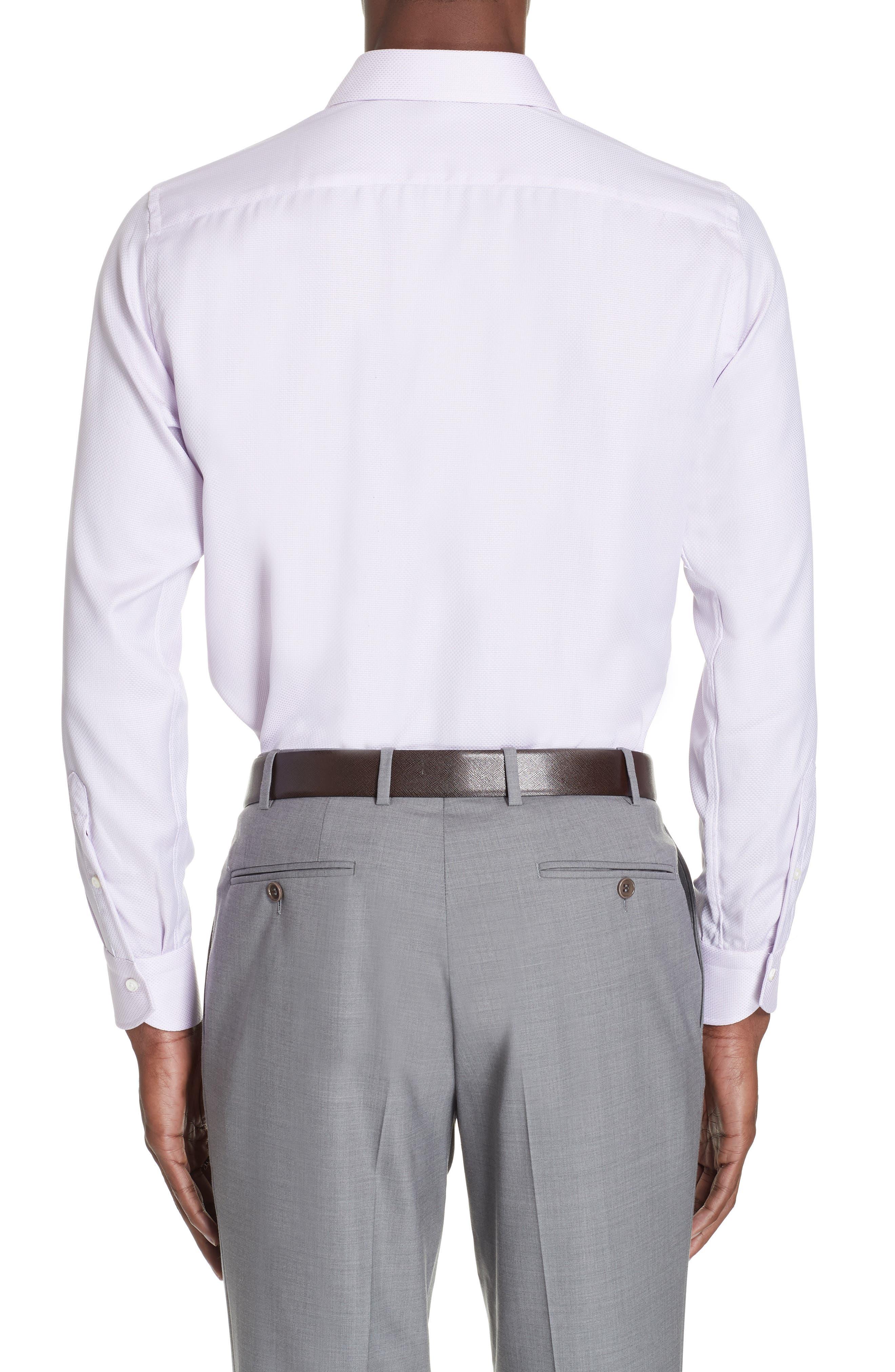 Trim Fit Solid Dress Shirt,                             Alternate thumbnail 3, color,                             LIGHT PINK