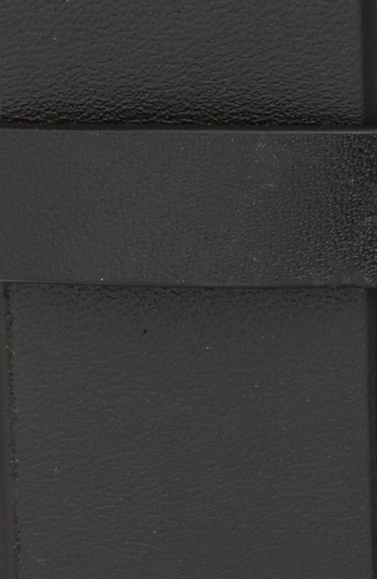 Mitered Leather Belt,                             Alternate thumbnail 2, color,                             BLACK/ IVORY