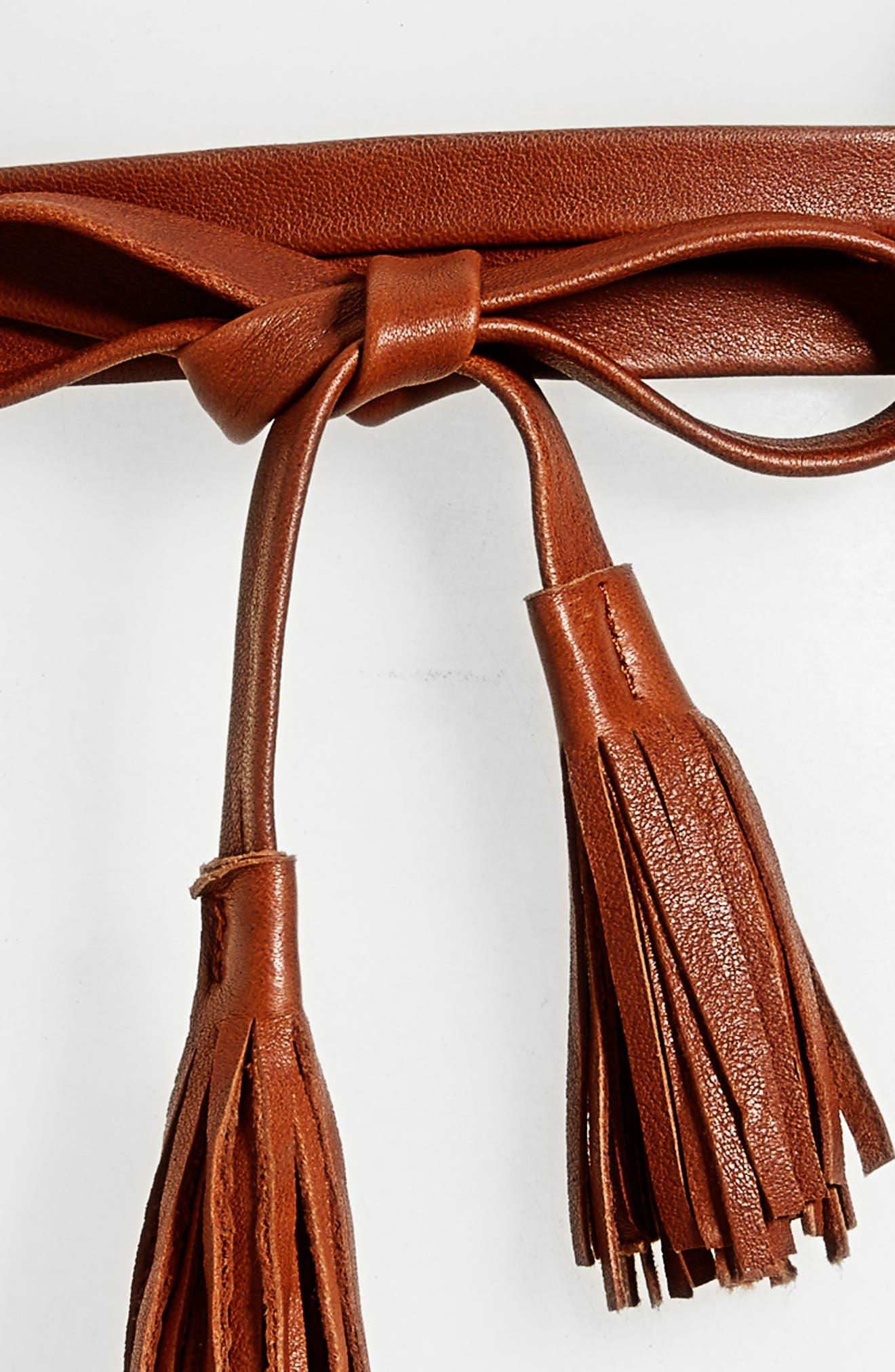 Bronco Leather Wrap Belt,                             Alternate thumbnail 3, color,                             COGNAC