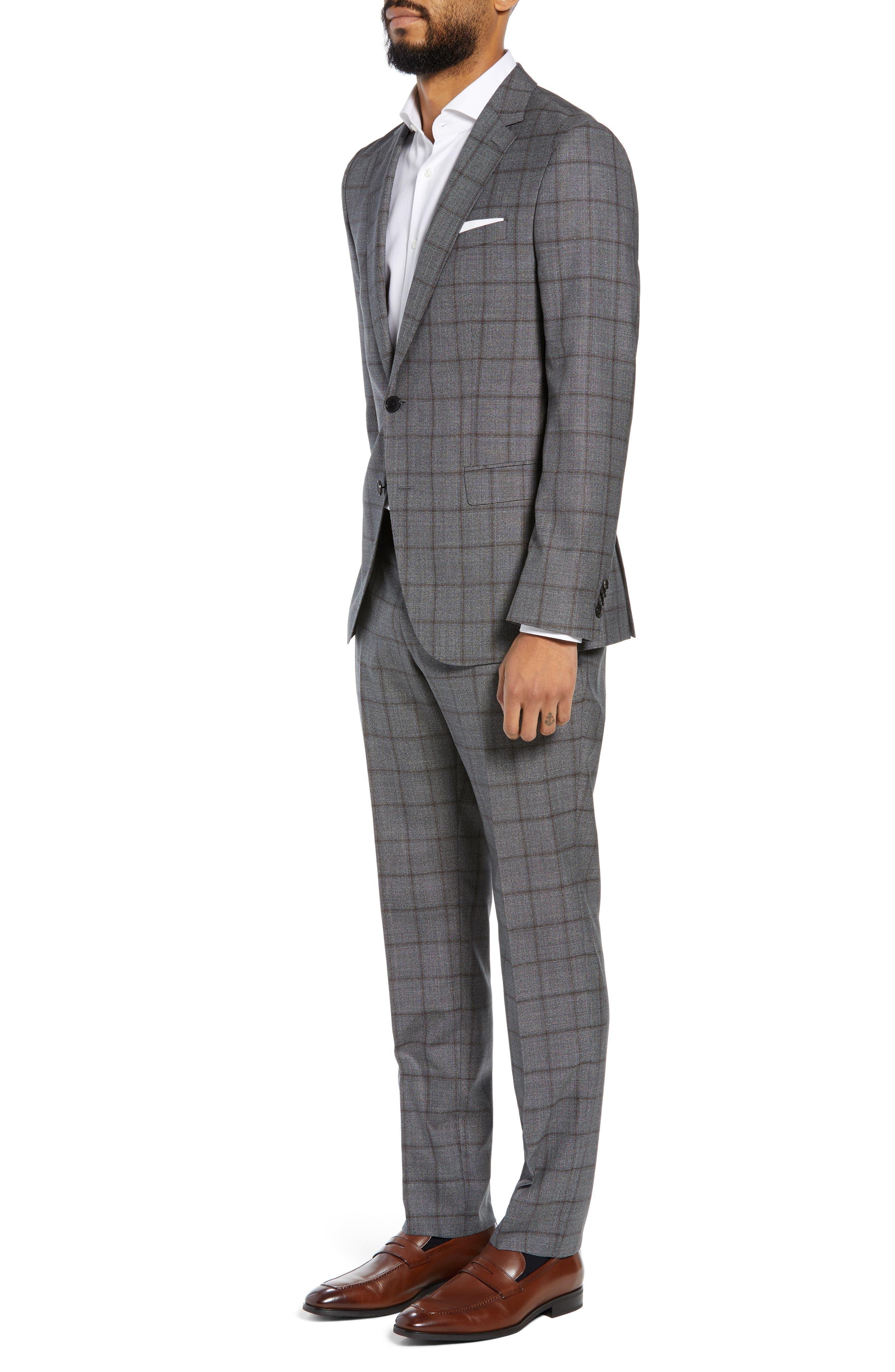Novan/Ben Trim Fit Windowpane Wool Suit,                             Alternate thumbnail 3, color,                             OPEN GREY