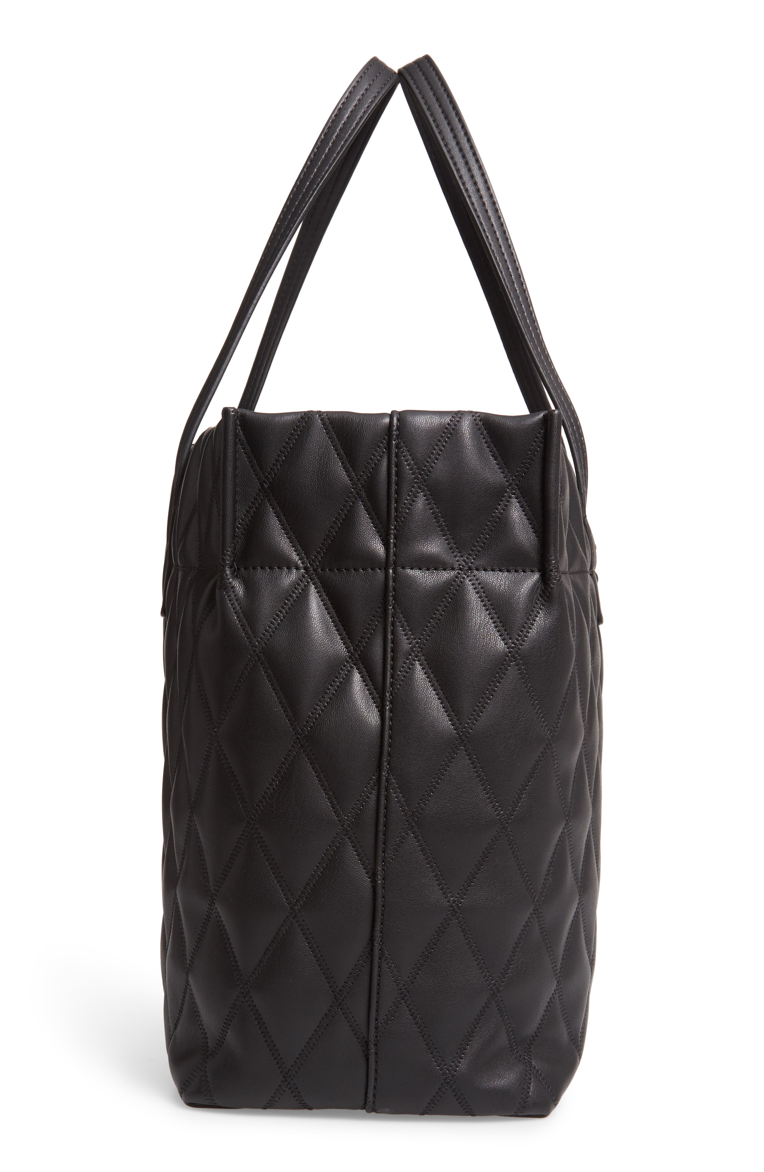 Quilted East/West Faux Leather Shopper,                             Alternate thumbnail 5, color,                             BLACK