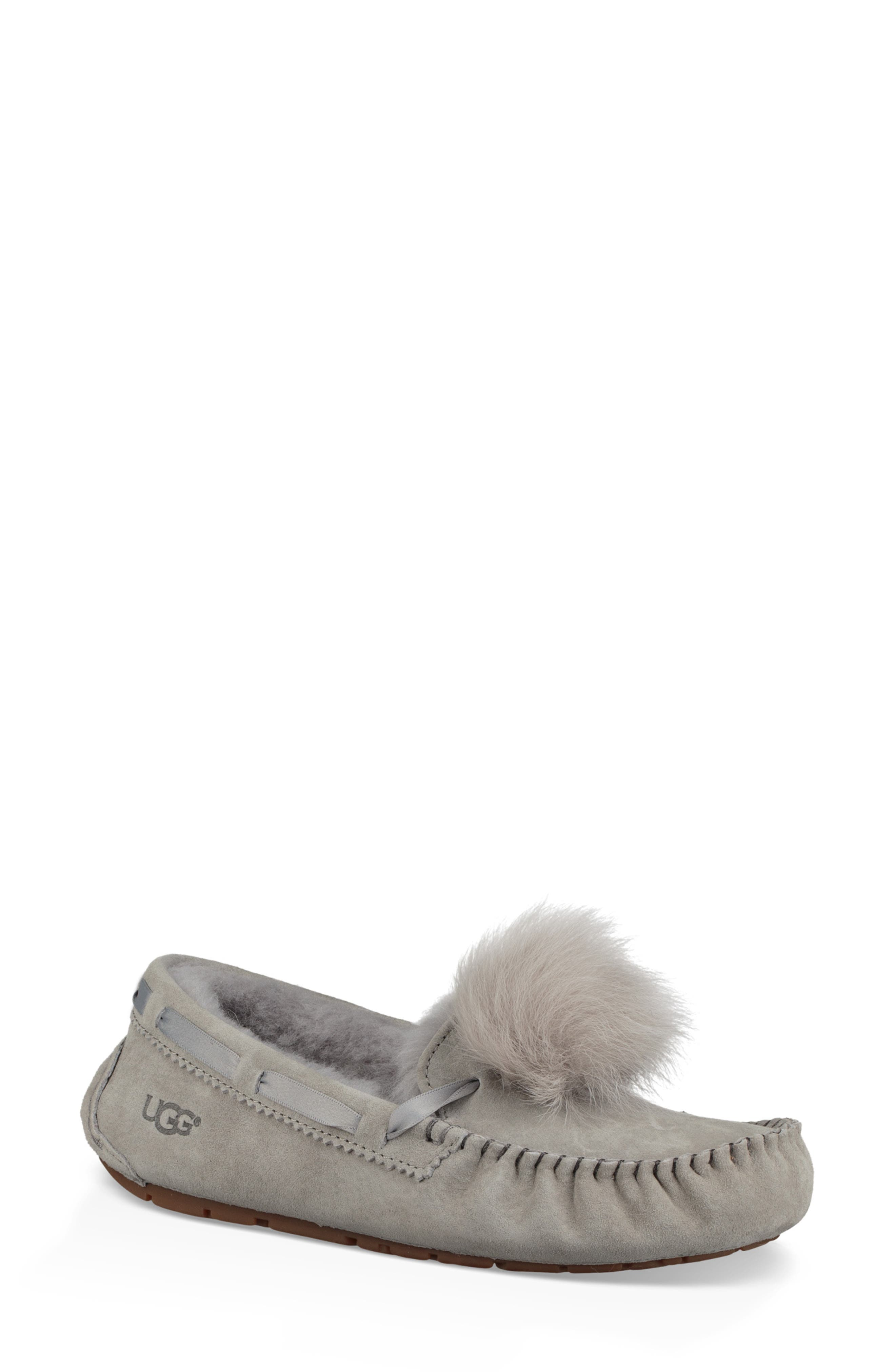 Dakota Water Resistant Genuine Shearling Pompom Slipper,                             Main thumbnail 1, color,                             SEAL