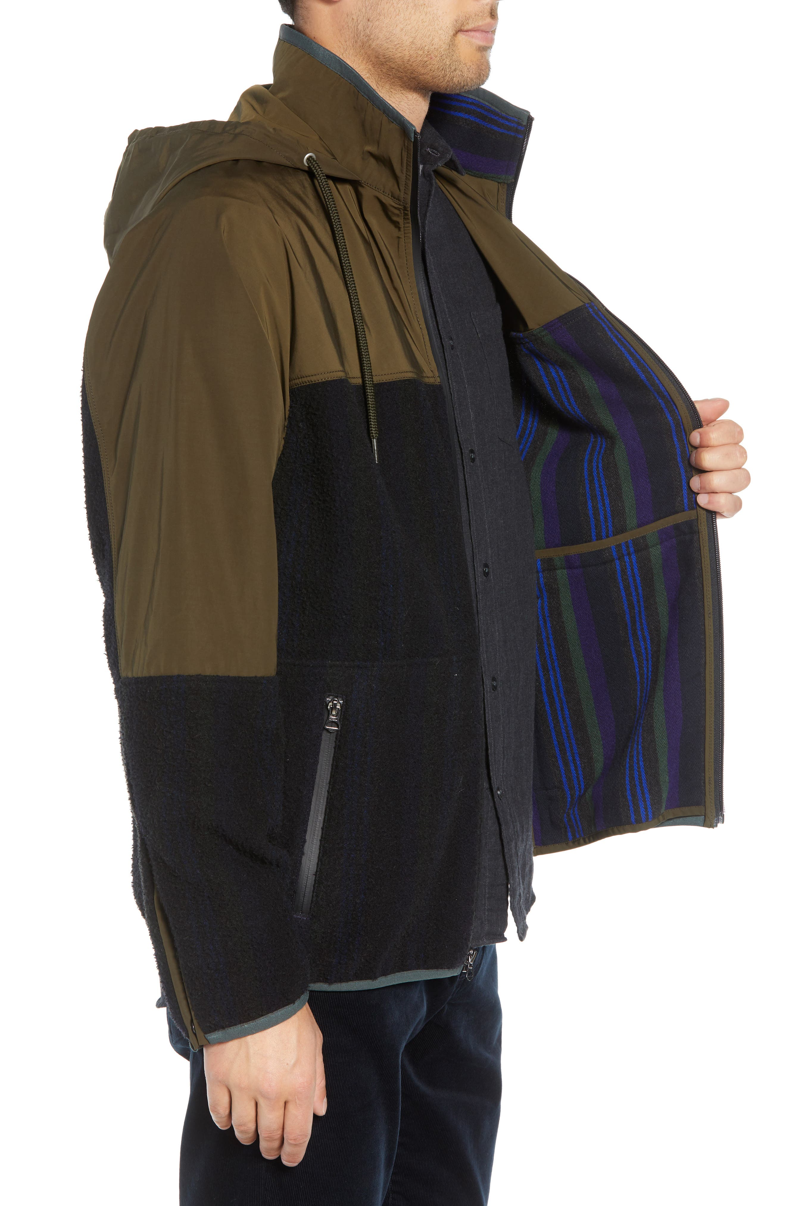 Mixed Media Hooded Jacket,                             Alternate thumbnail 3, color,                             FATIGUE