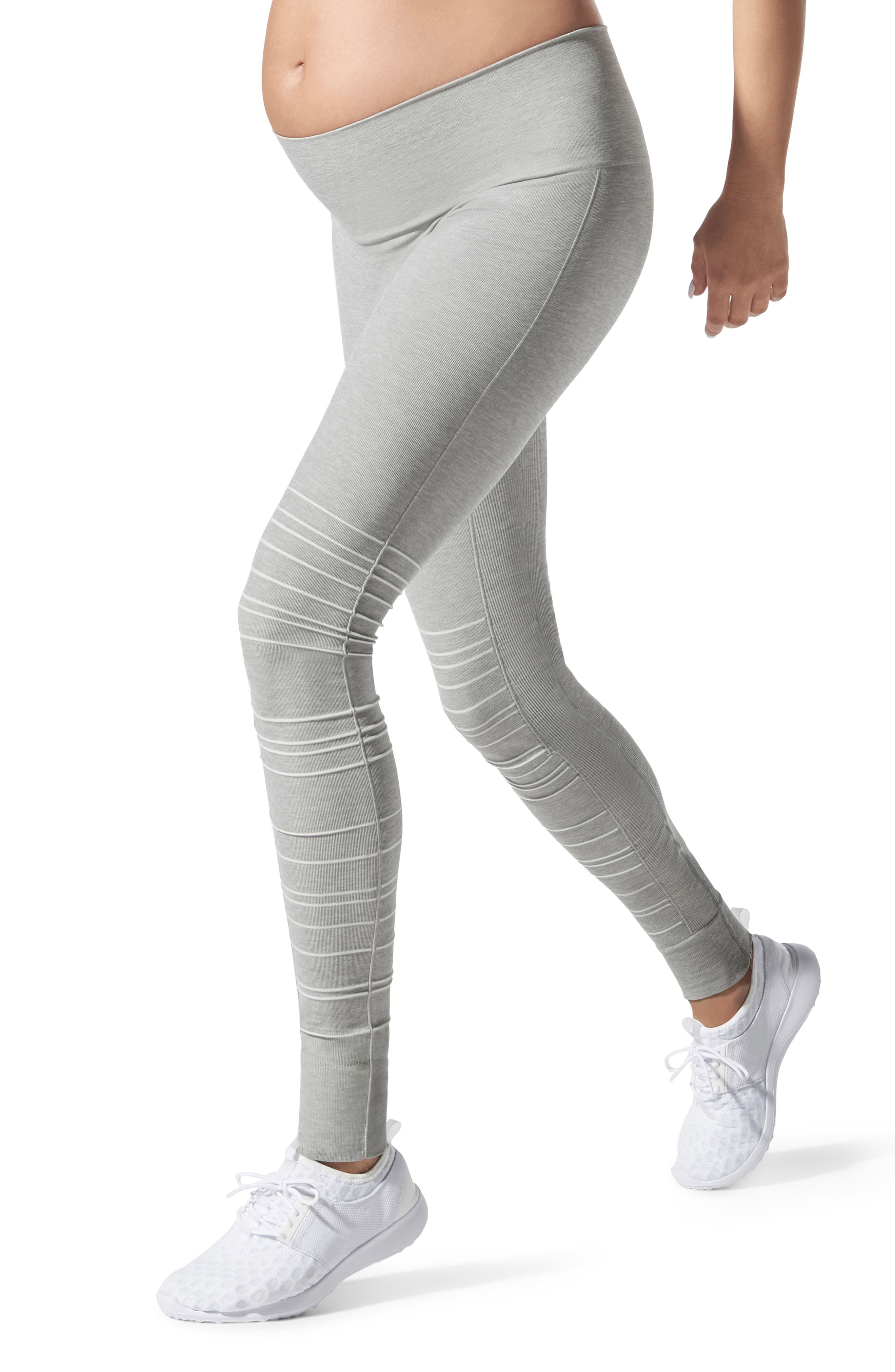 SportSupport<sup>®</sup> Hipster Cuffed Support Maternity/Postpartum Leggings,                             Main thumbnail 1, color,                             DOVE GREY