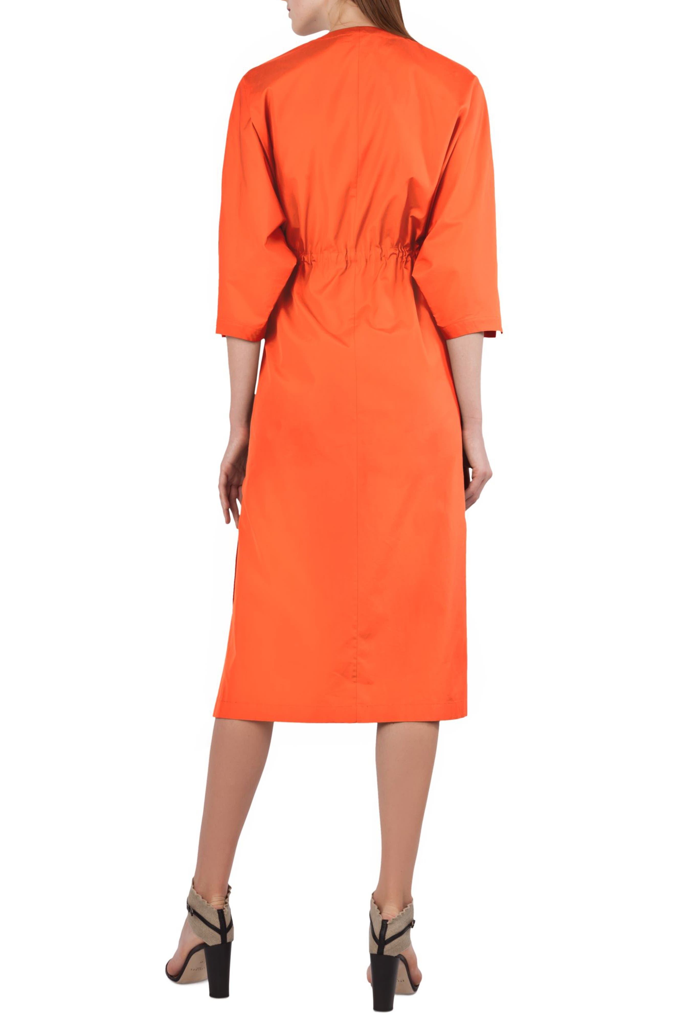 Kimono Sleeve Cotton Poplin Dress,                             Alternate thumbnail 2, color,