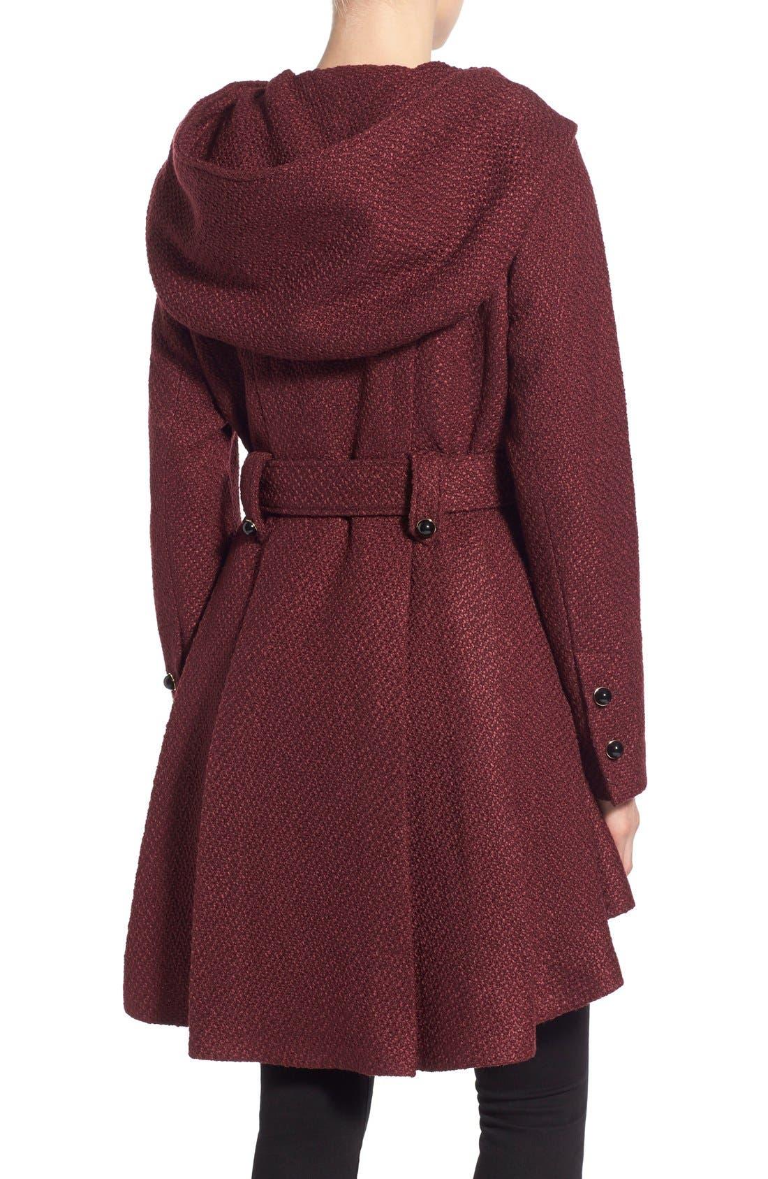 Belted Hooded Skirted Coat,                             Alternate thumbnail 14, color,