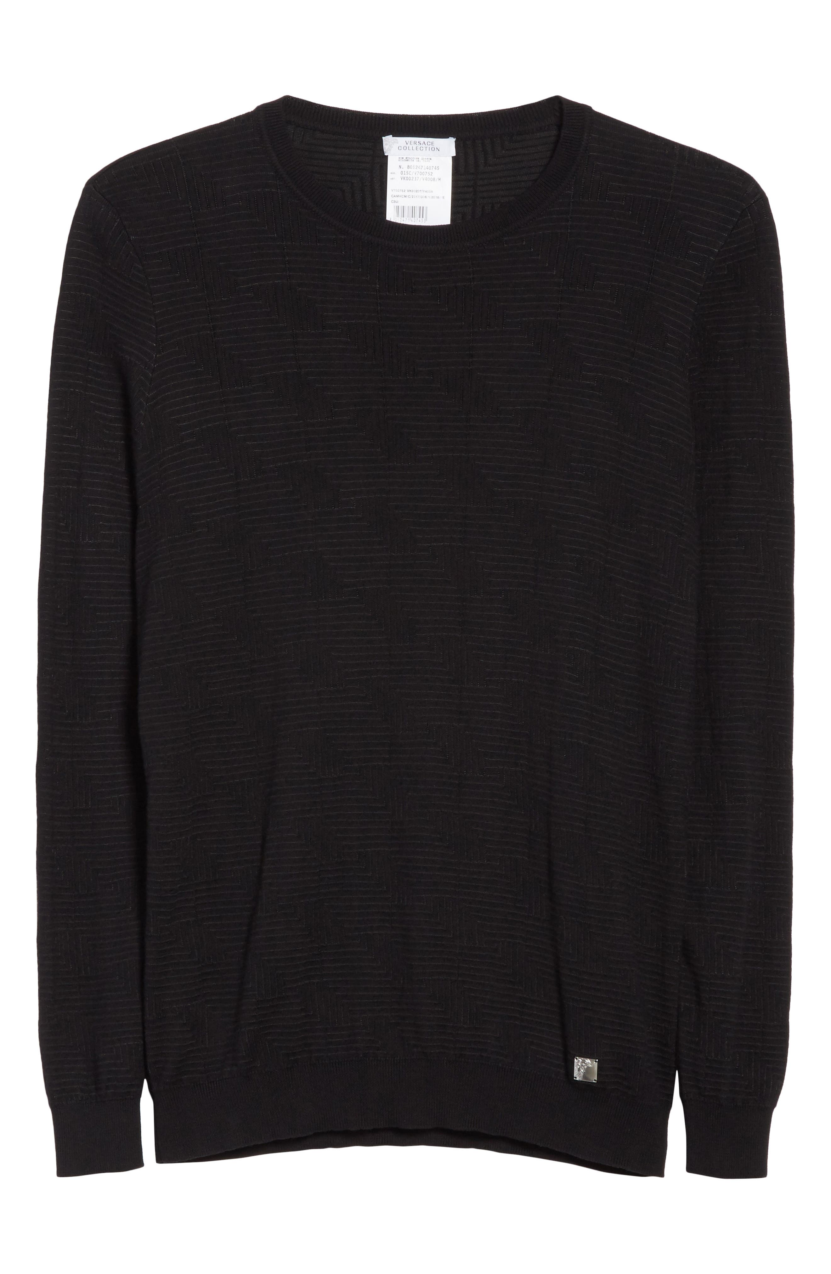 Frame Jacquard Sweater,                             Alternate thumbnail 6, color,                             001