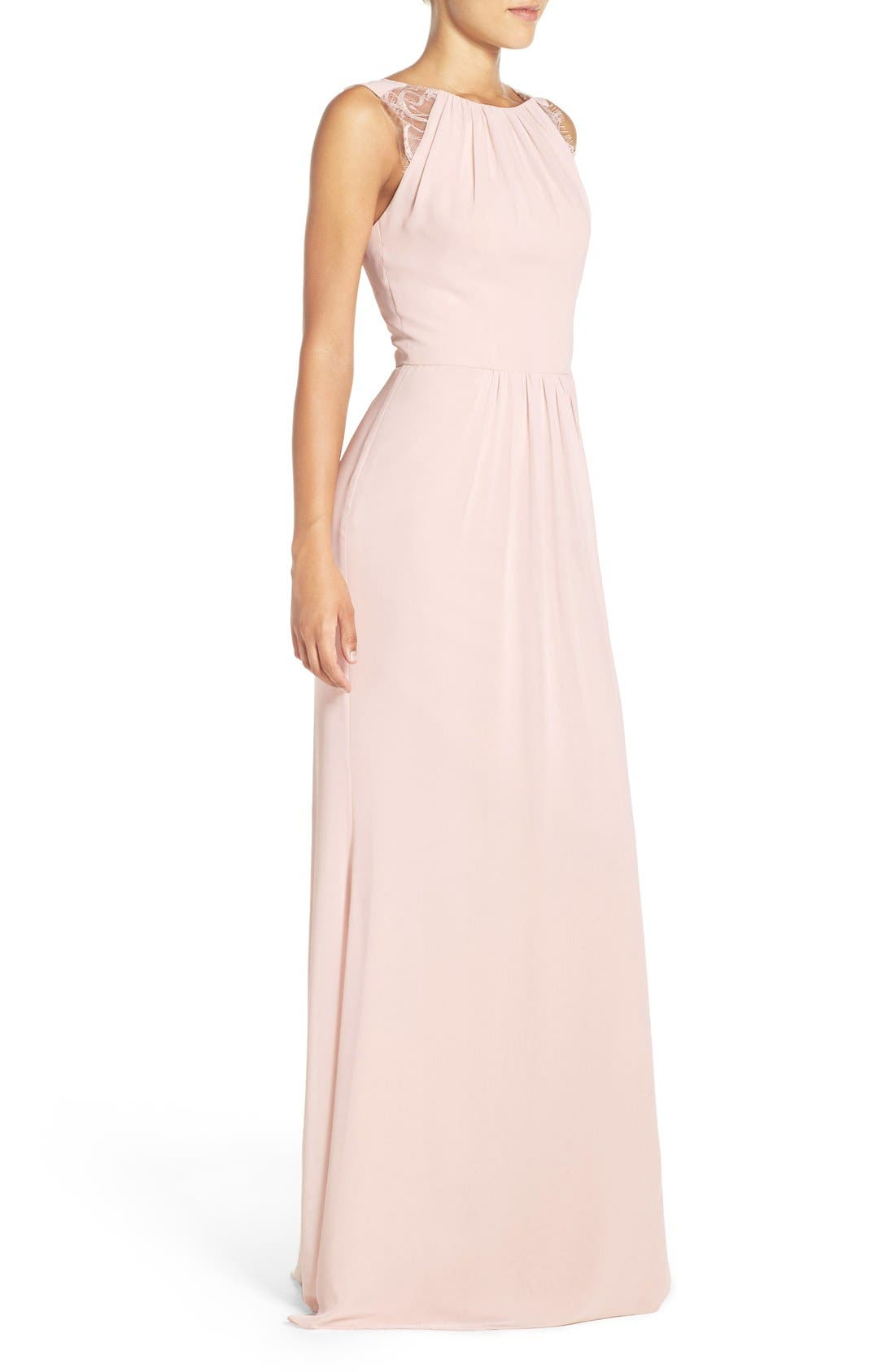 Lace Strap Gathered Chiffon Gown,                             Alternate thumbnail 10, color,