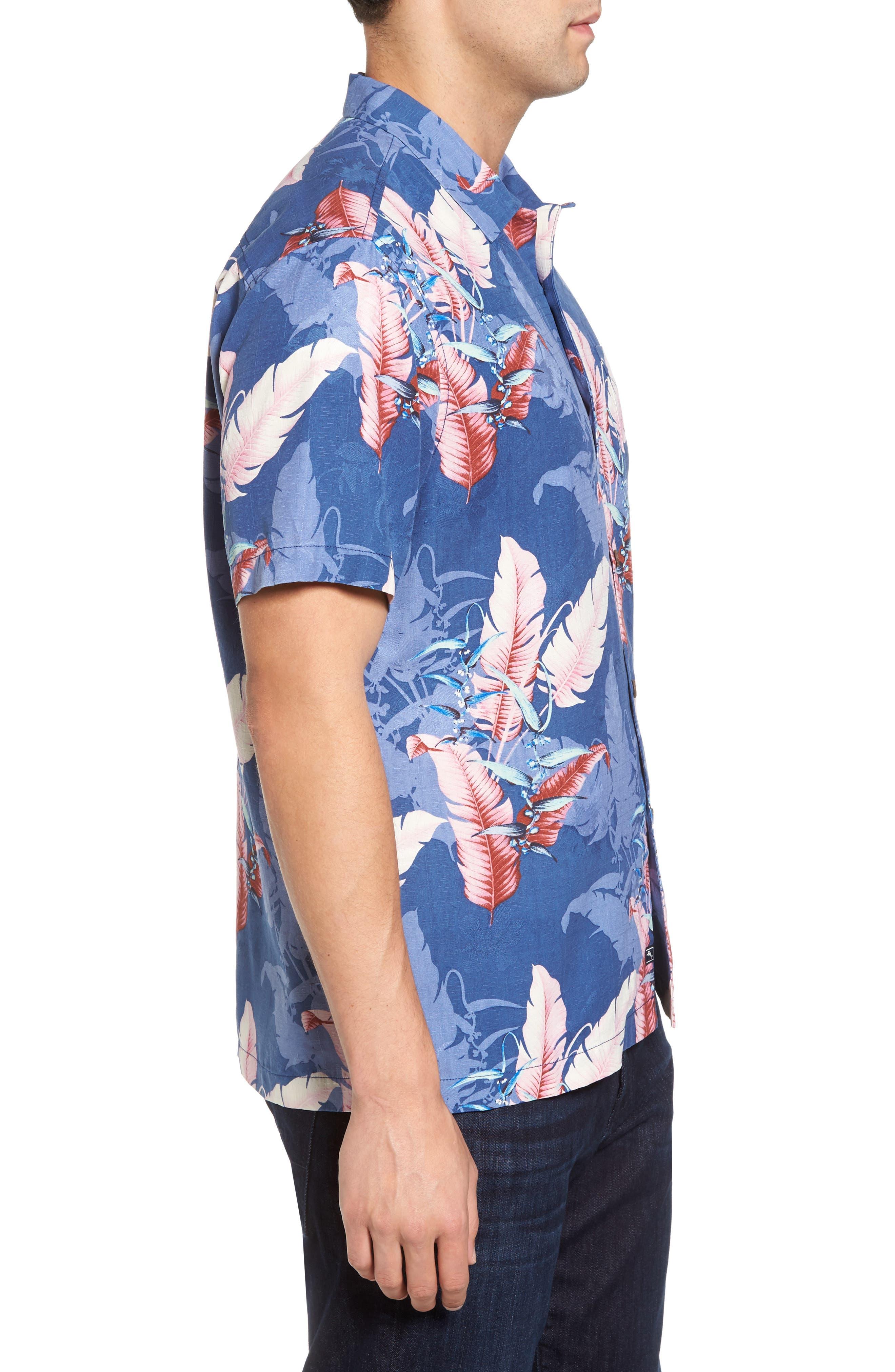 Shadow Fronds Silk Camp Shirt,                             Alternate thumbnail 3, color,                             400